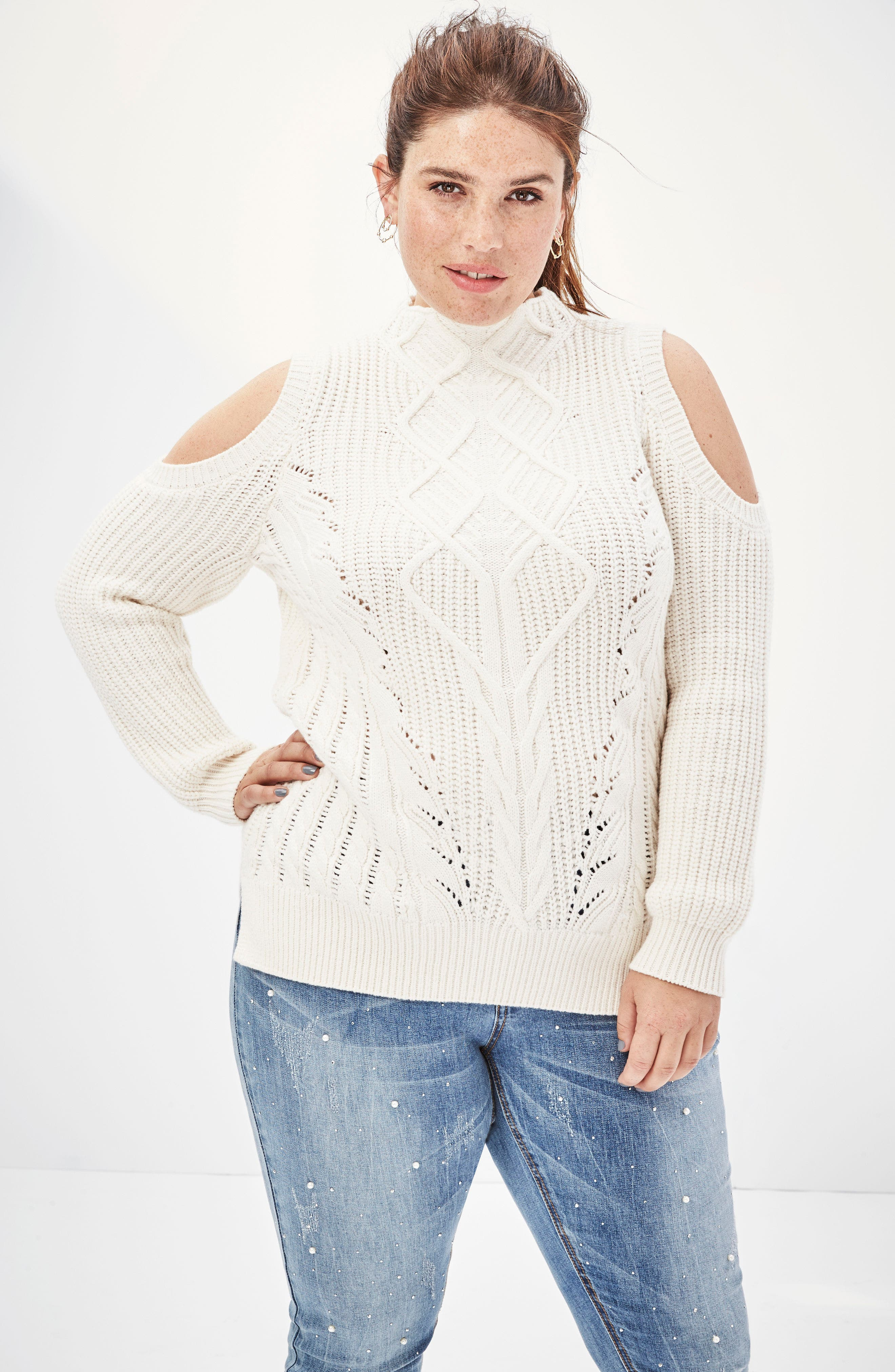 Cold Shoulder Cable Sweater,                             Alternate thumbnail 5, color,                             001