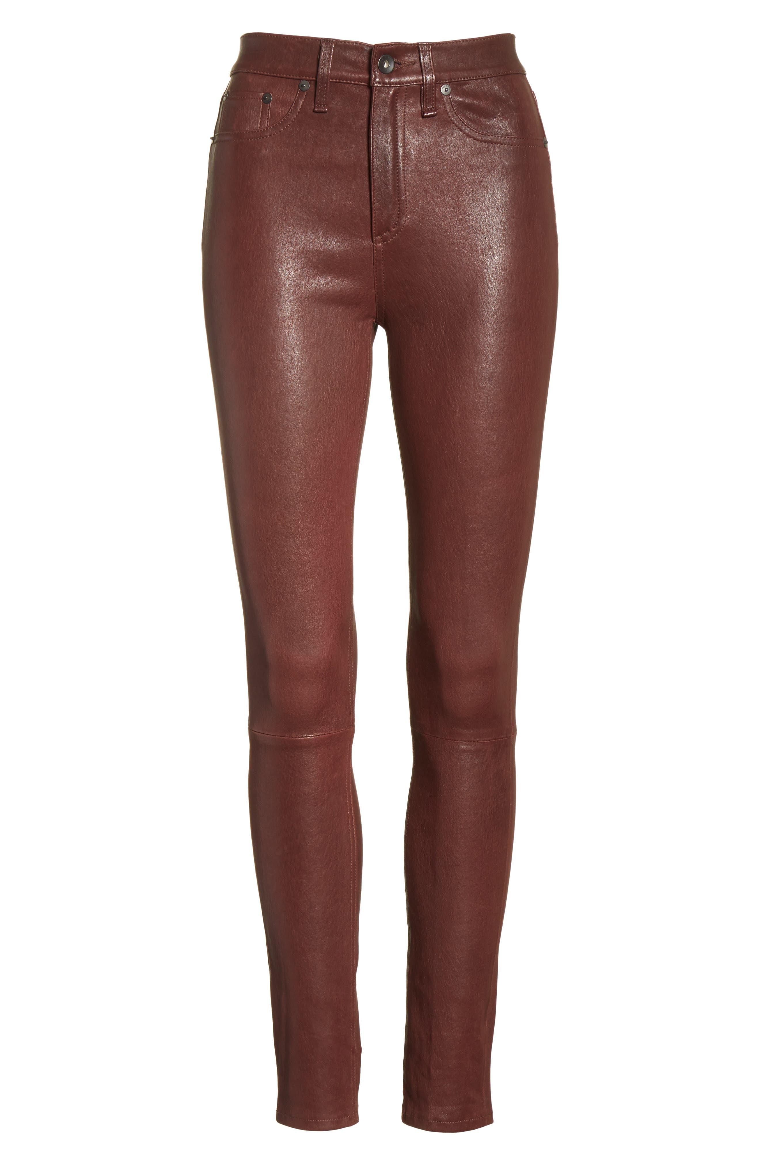 Lambskin Leather Pants,                             Alternate thumbnail 6, color,                             230