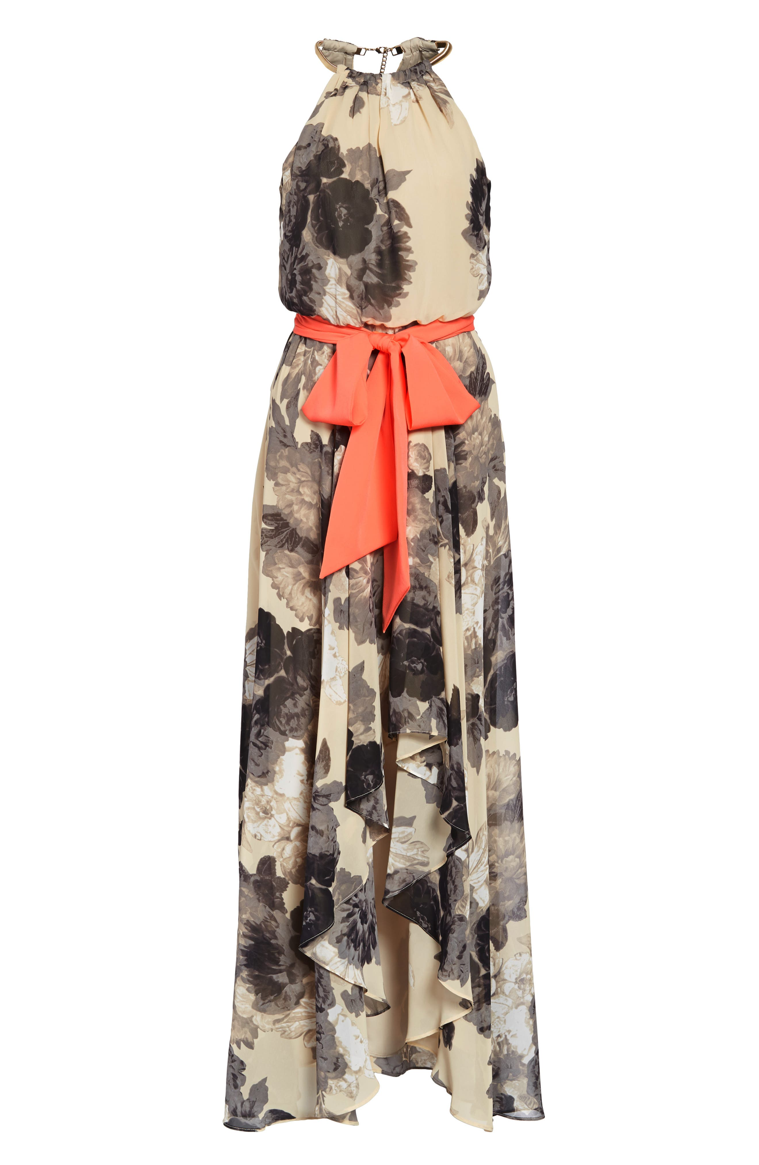 Floral Print Chiffon Maxi Dress,                             Alternate thumbnail 9, color,                             TAUPE/ BLACK