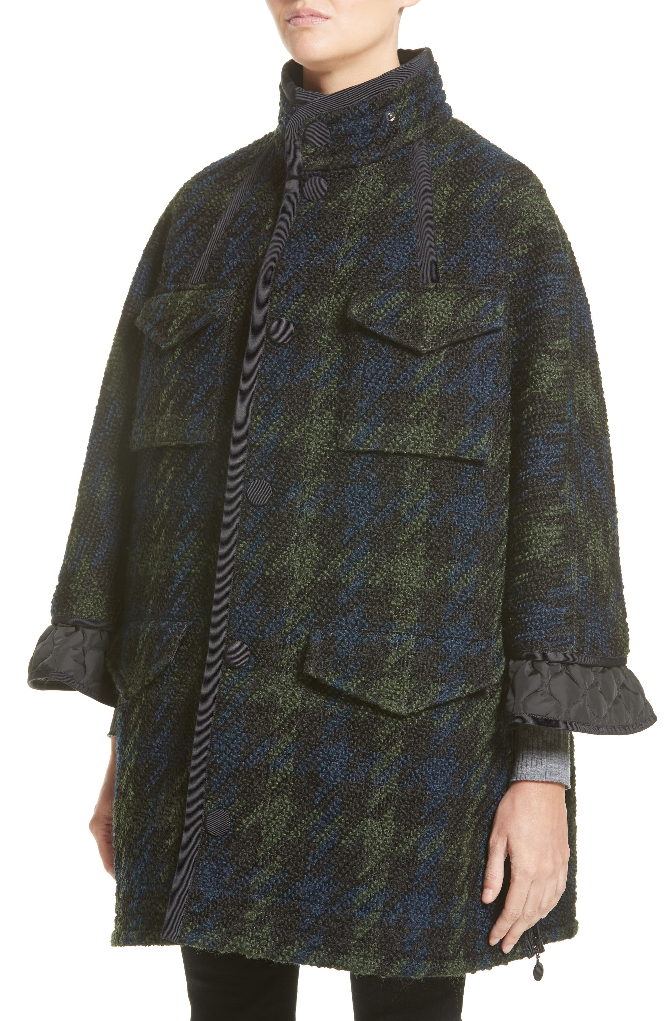 Euphrasie Wool Blend Houndstooth Coat,                             Alternate thumbnail 3, color,