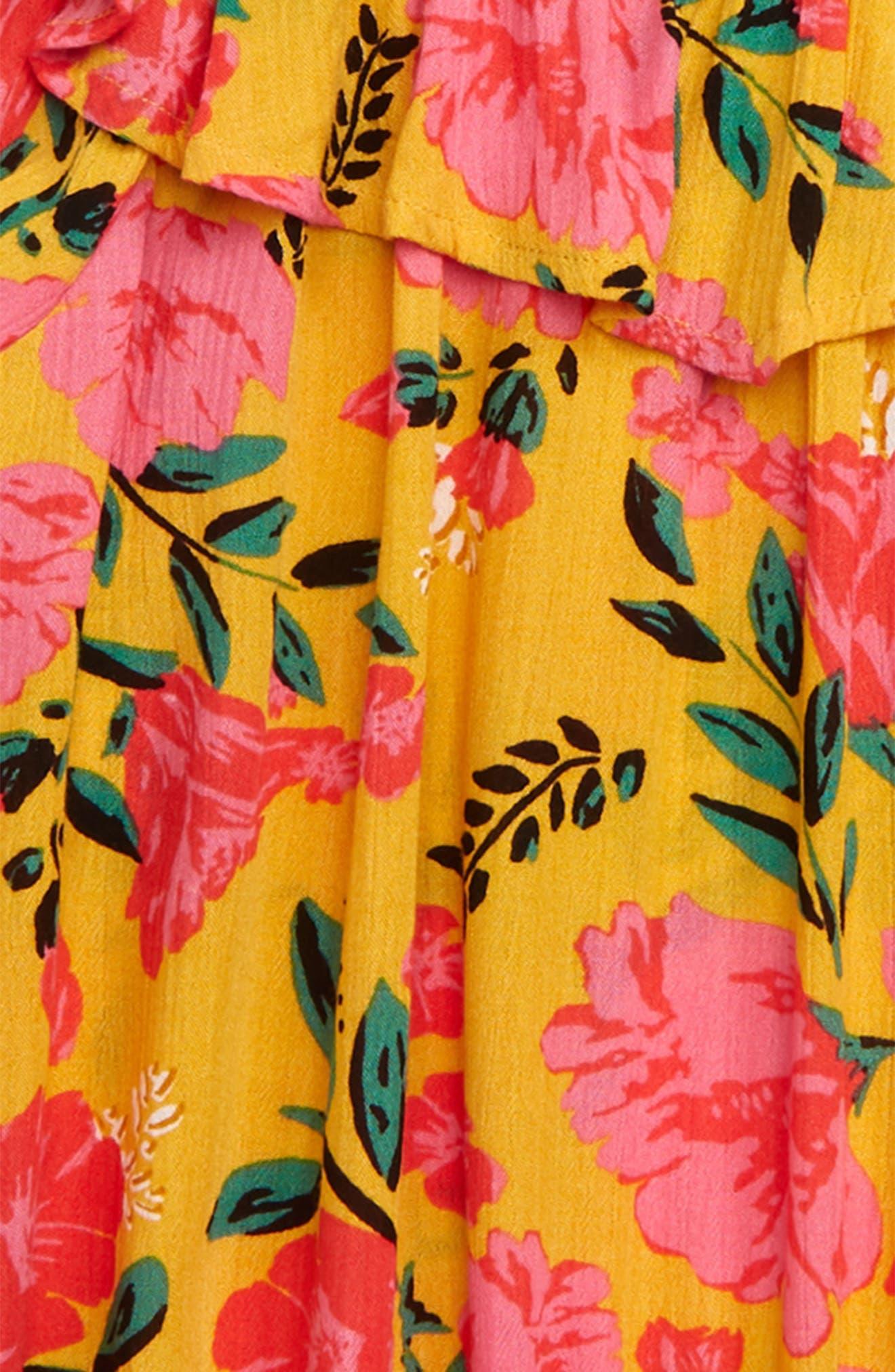 BILLABONG,                             Floral Fields Ruffle Top,                             Alternate thumbnail 2, color,                             GOLDEN GLOW