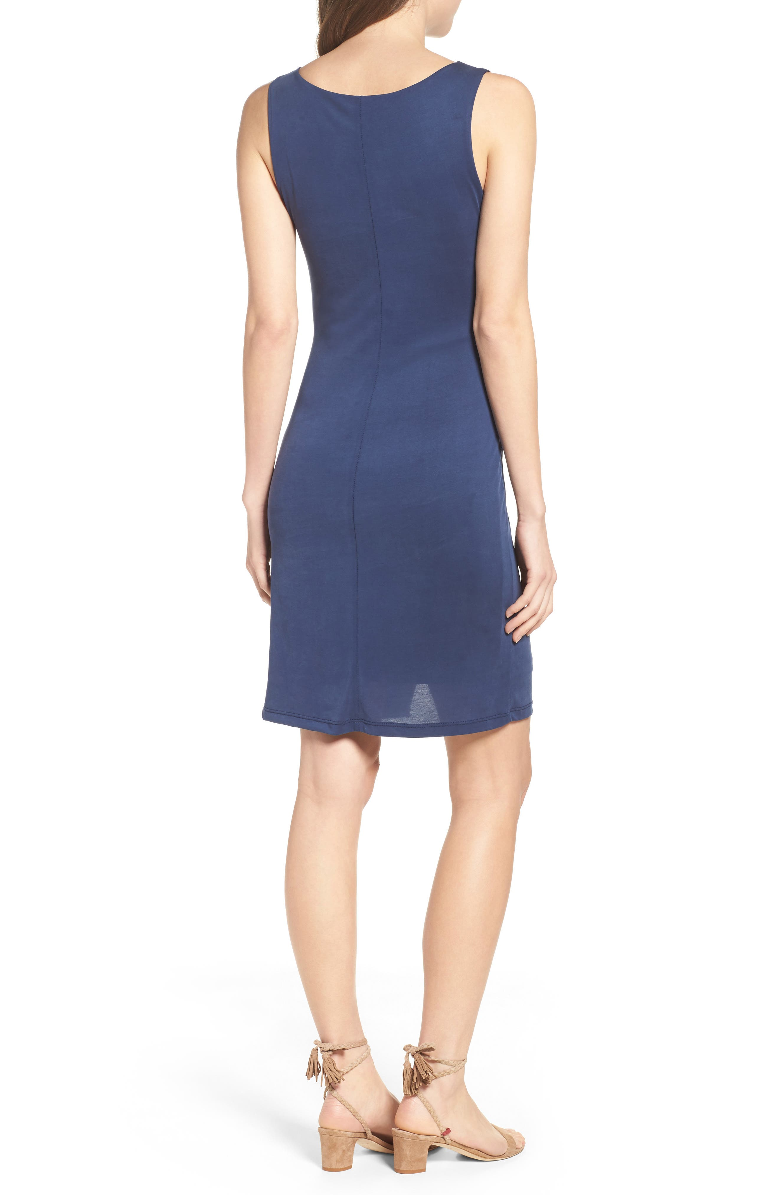 Pleated Body-Con Dress,                             Alternate thumbnail 2, color,
