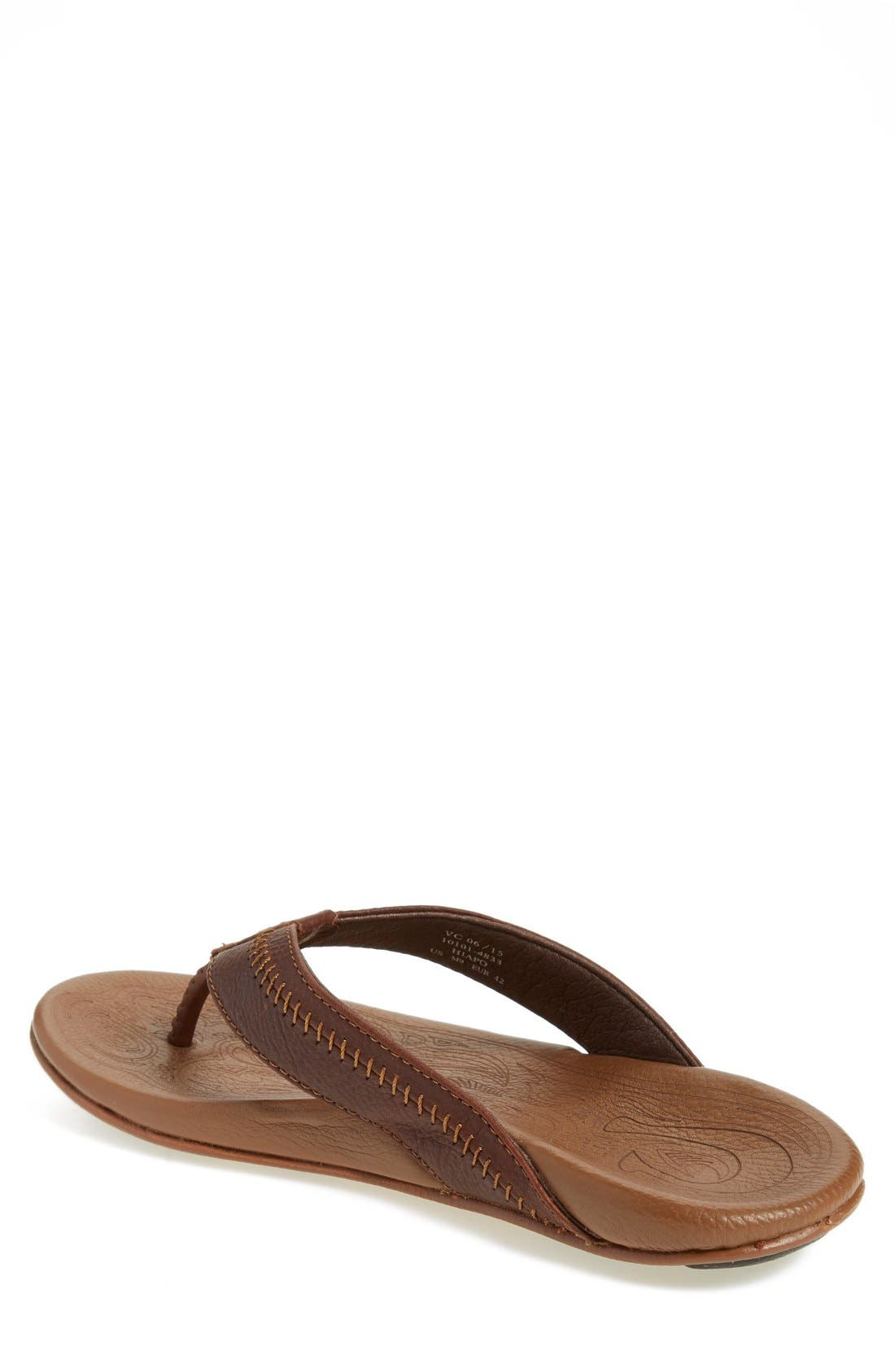 'Hiapo' Flip Flop,                             Alternate thumbnail 2, color,                             DARK JAVA TOFFEE