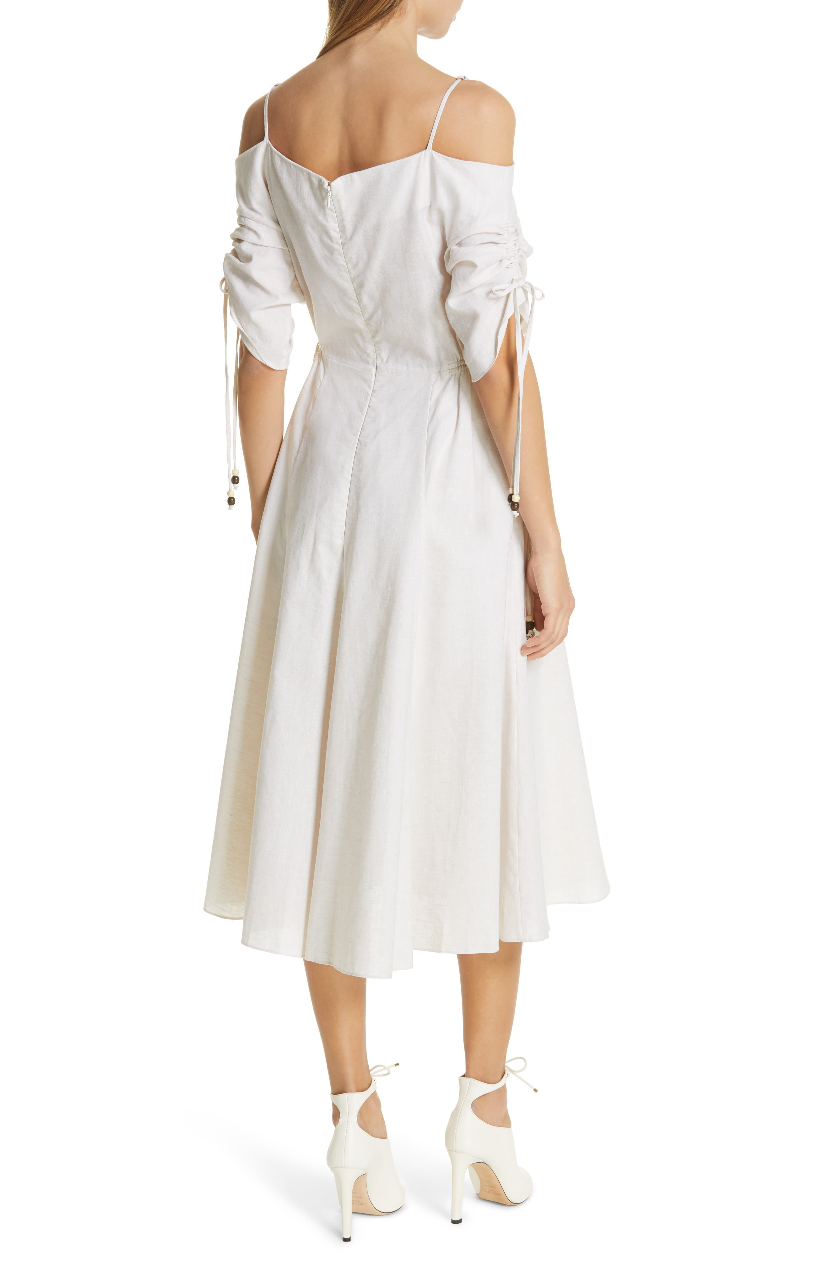 JONATHAN SIMKHAI,                             Off the Shoulder Cotton & Linen Dress,                             Alternate thumbnail 2, color,                             ECRU