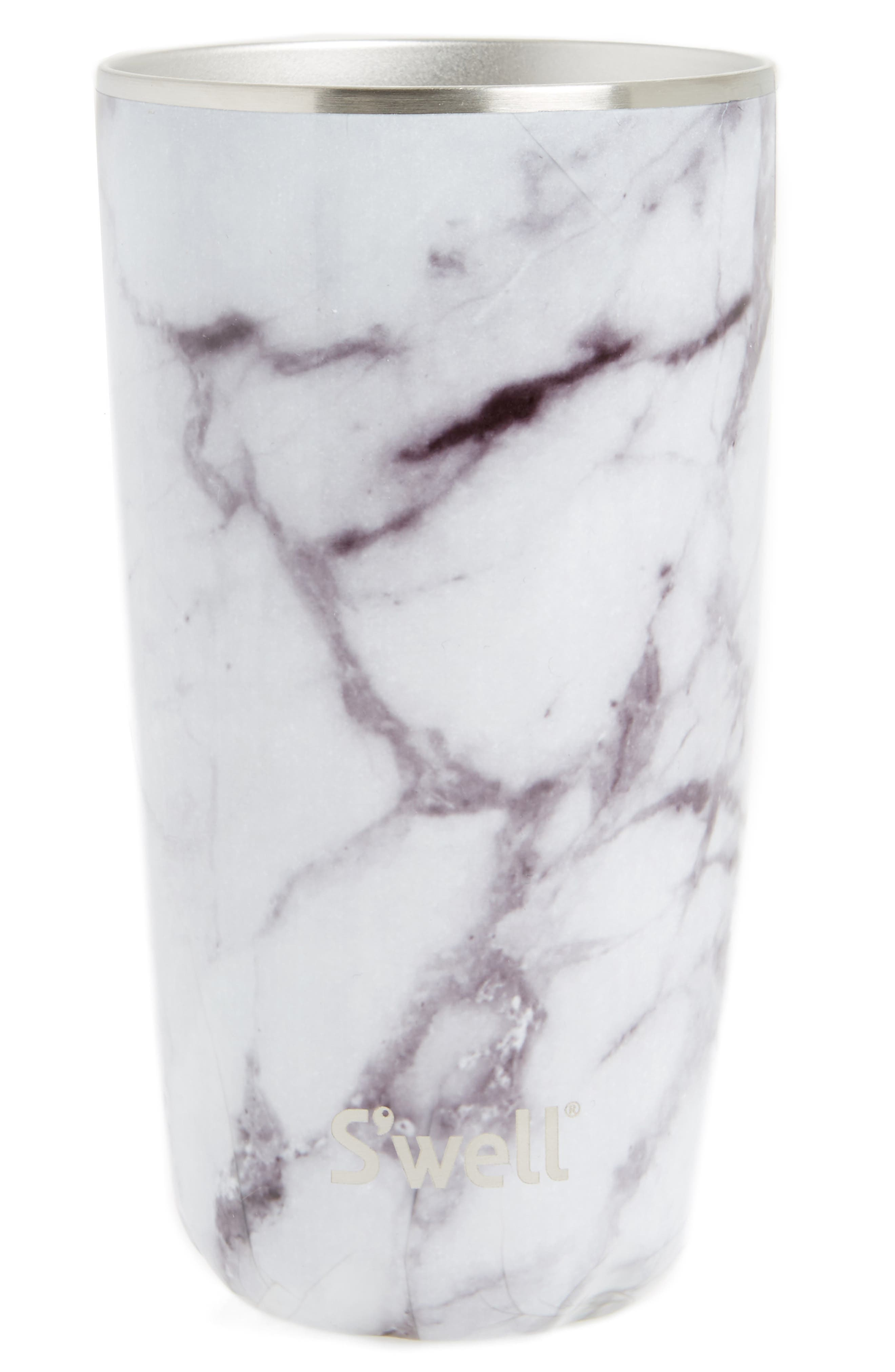 White Marble 18-Ounce Insulated Tumbler, Main, color, WHITE MARBLE