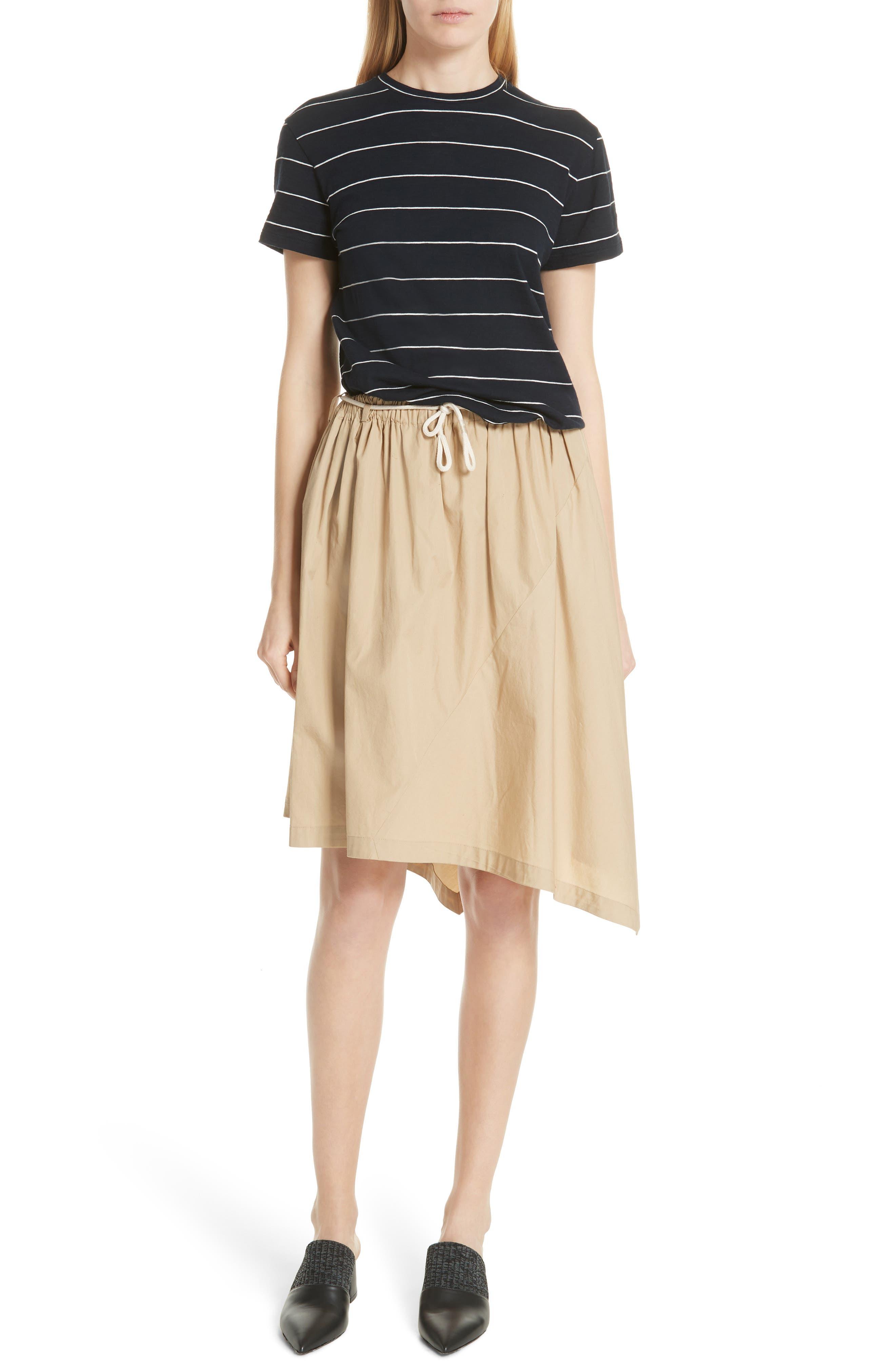 Asymmetrical Drawstring Cotton Skirt,                             Alternate thumbnail 7, color,                             KHAKI