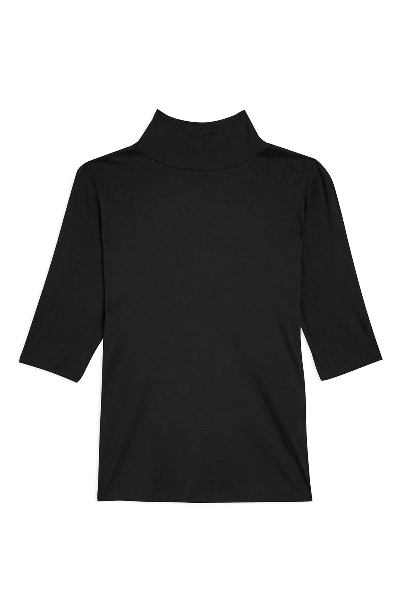 Elbow Sleeve Turtleneck Top,                             Alternate thumbnail 4, color,                             BLACK
