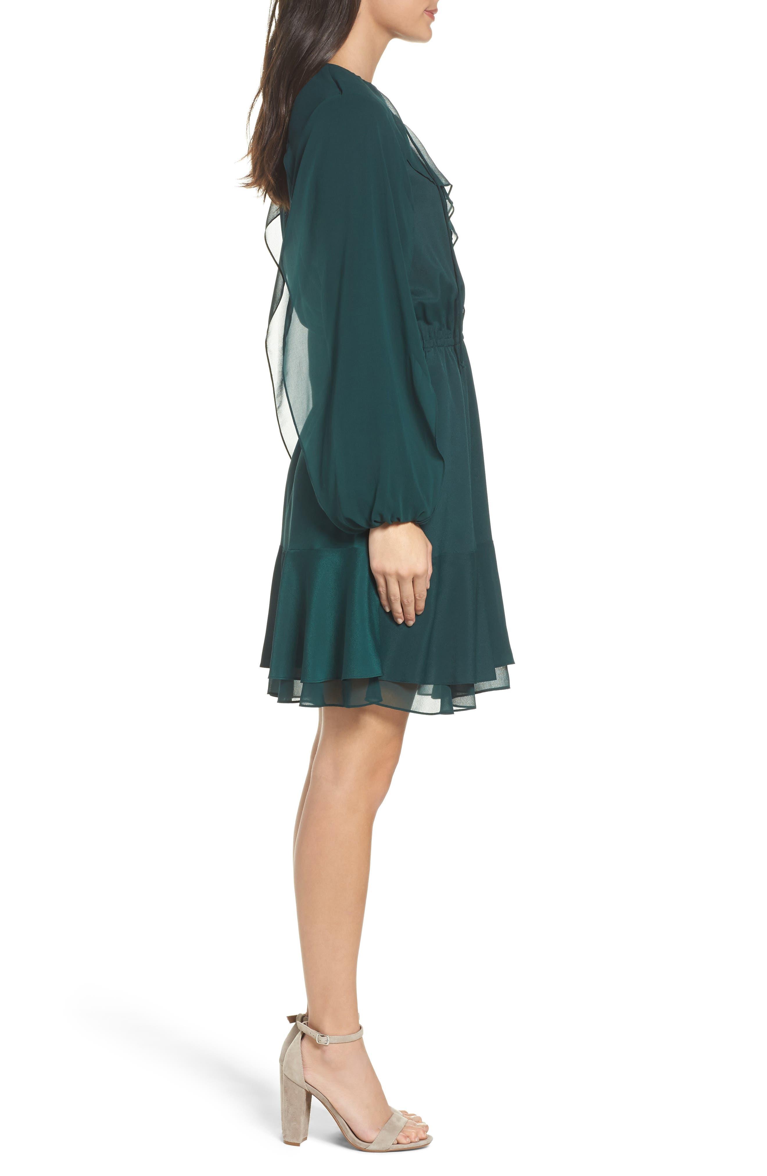 Keely Ruffle Blouson Dress,                             Alternate thumbnail 3, color,                             309
