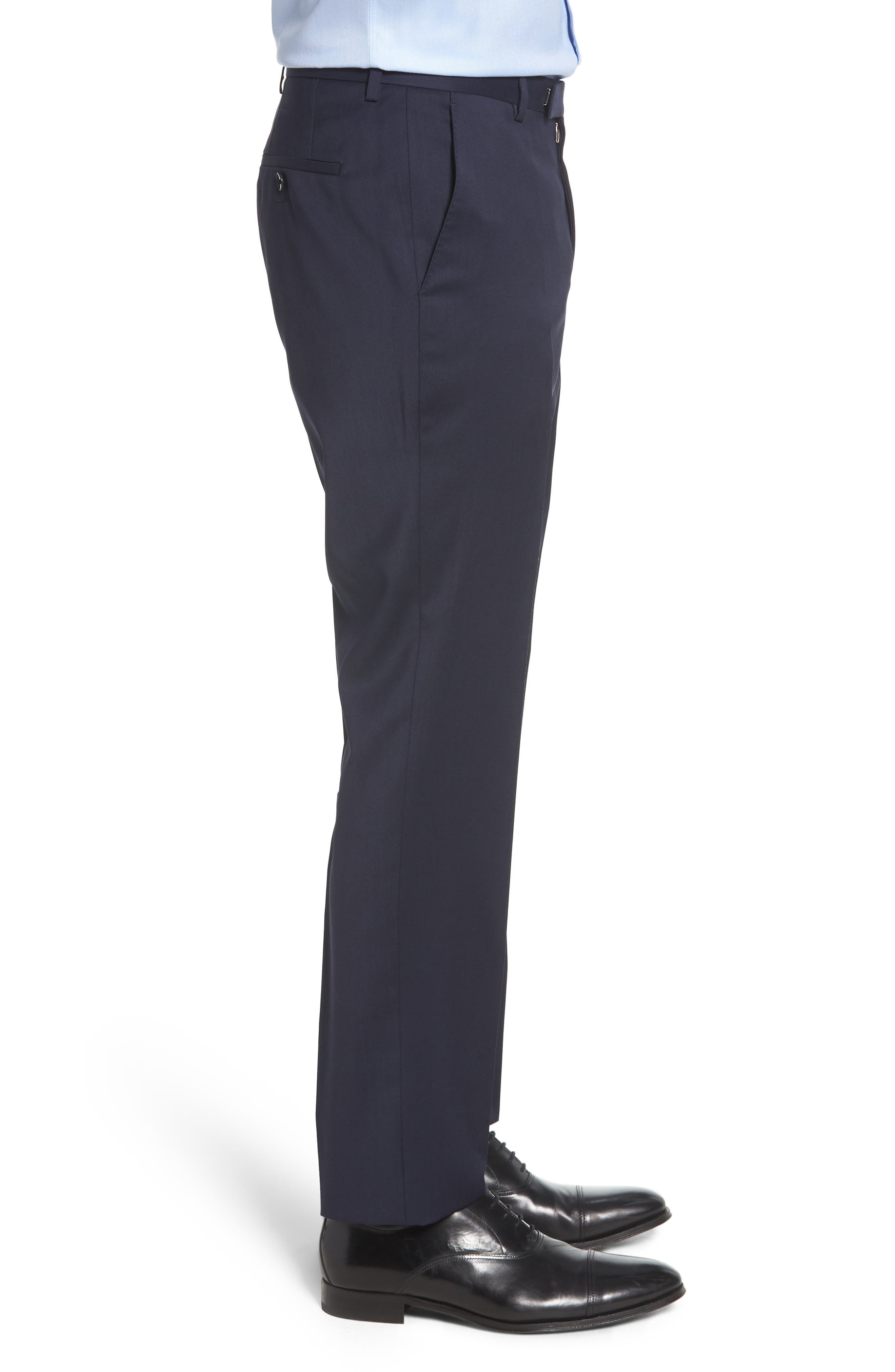 Leenon Flat Front Regular Fit Solid Wool Trousers,                             Alternate thumbnail 3, color,                             NAVY