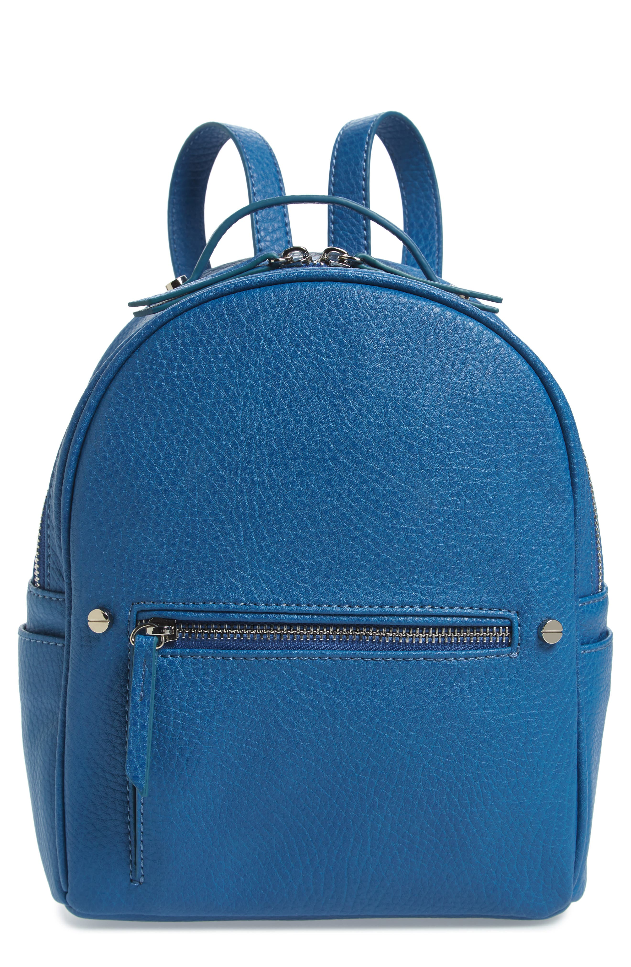 Mali + Lili Hannah Vegan Leather Backpack,                         Main,                         color, FRENCH BLUE