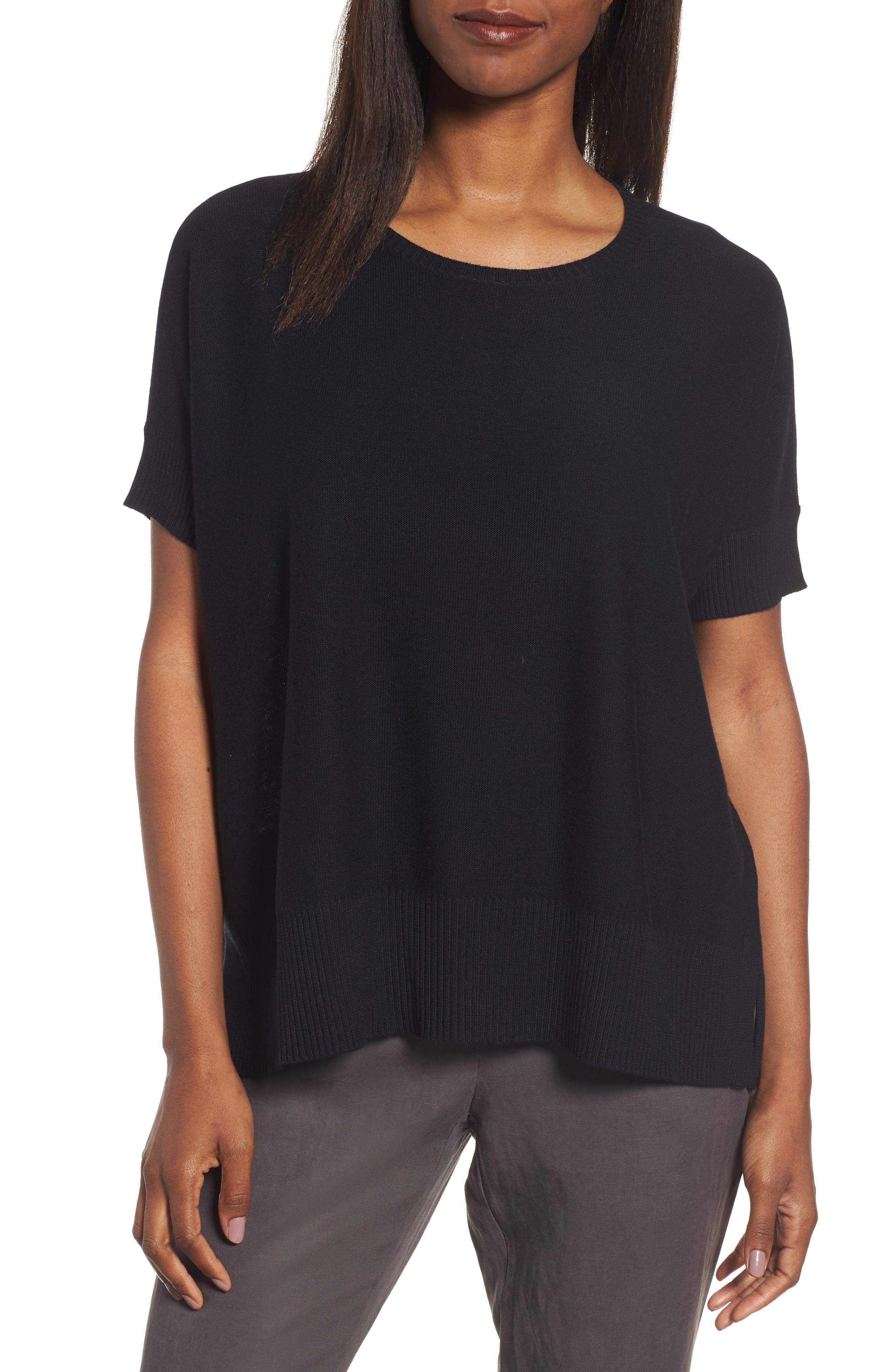 Tencel<sup>®</sup> & Merino Wool Top,                         Main,                         color, 001