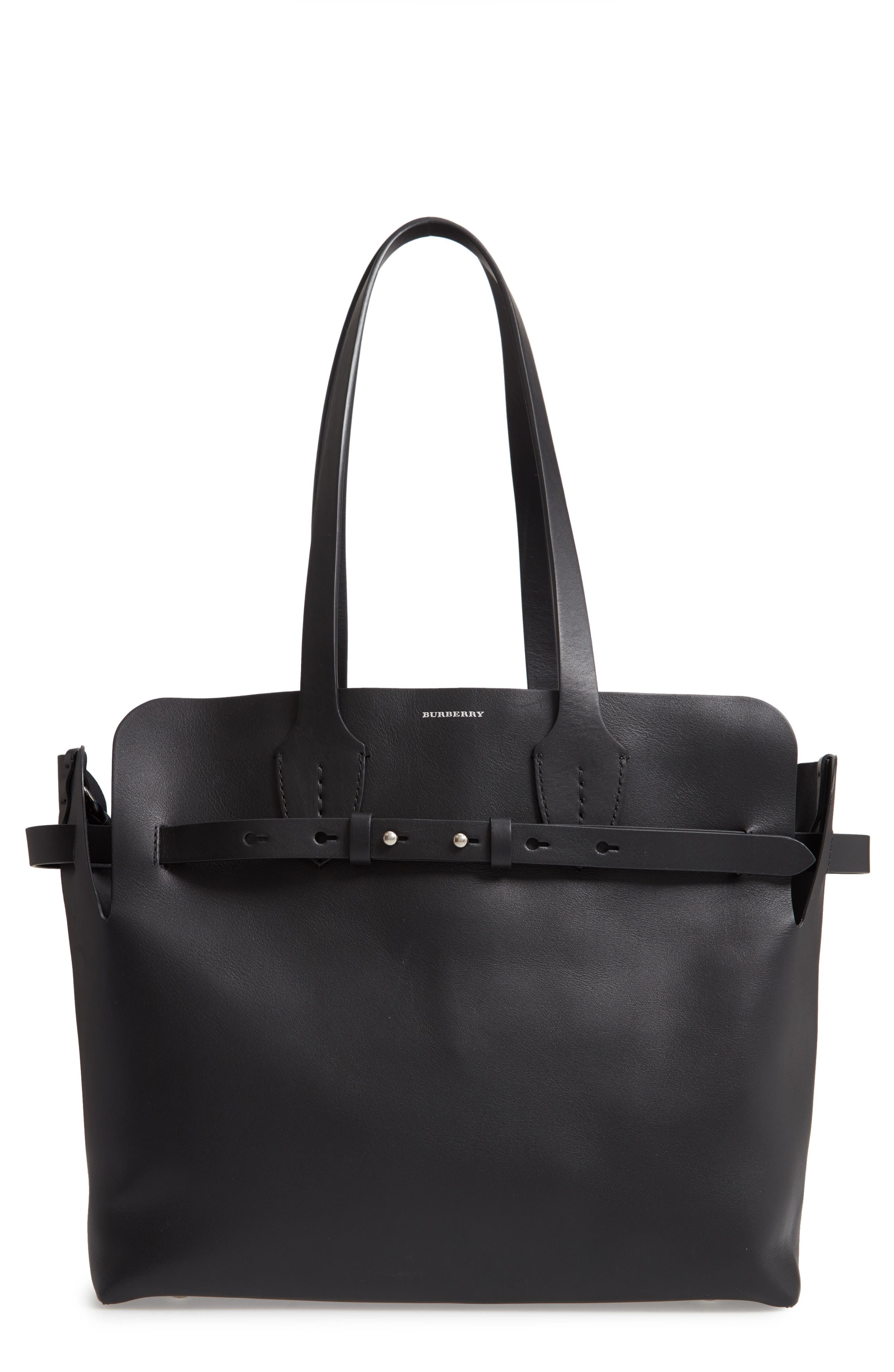 Medium Belt Bag Leather Tote,                             Main thumbnail 1, color,                             BLACK