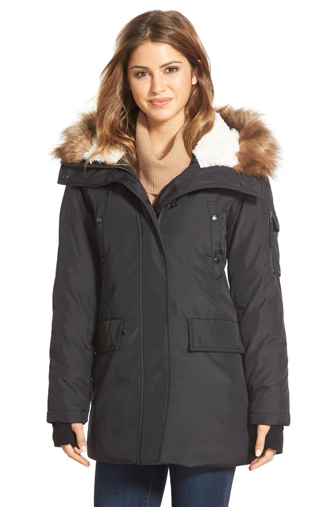 NYC 'Arctic' Faux Fur Trim Down & Feather Fill Parka, Main, color, 001