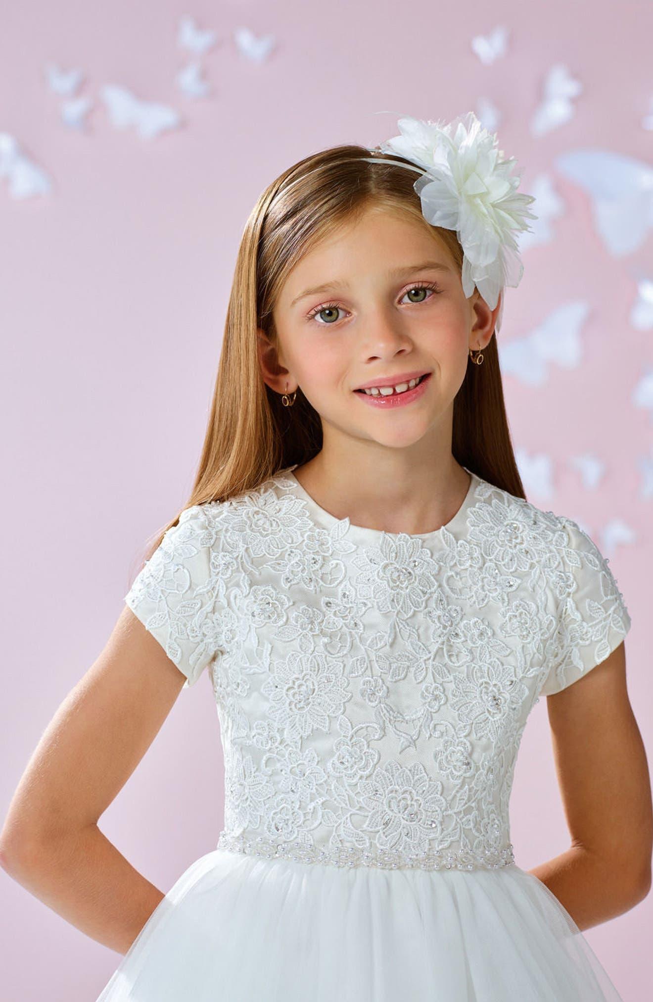Floral Appliqué First Communion Dress,                             Alternate thumbnail 4, color,                             100