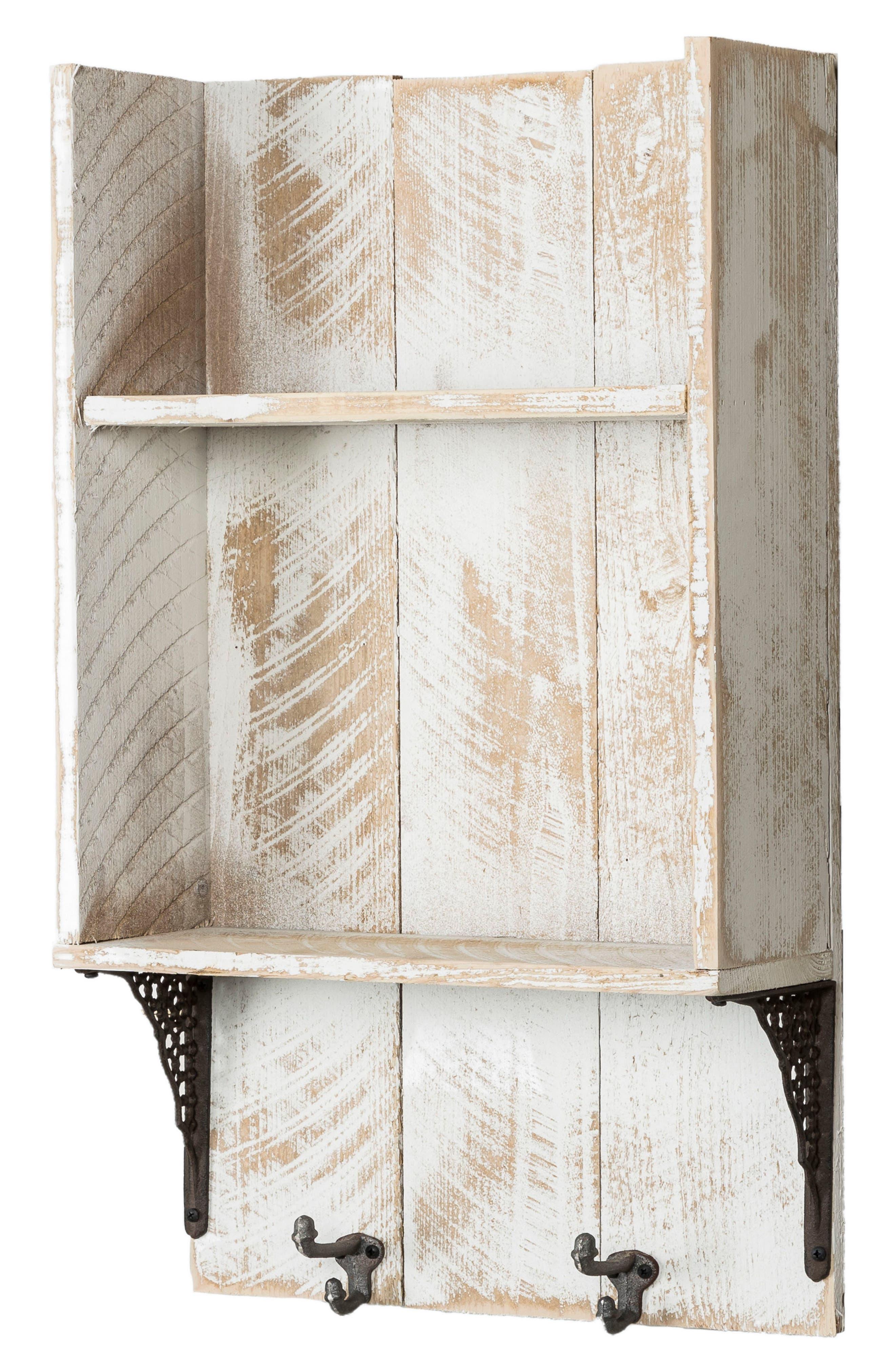 Reclaimed Wood Shelf with Hooks,                             Alternate thumbnail 3, color,                             100