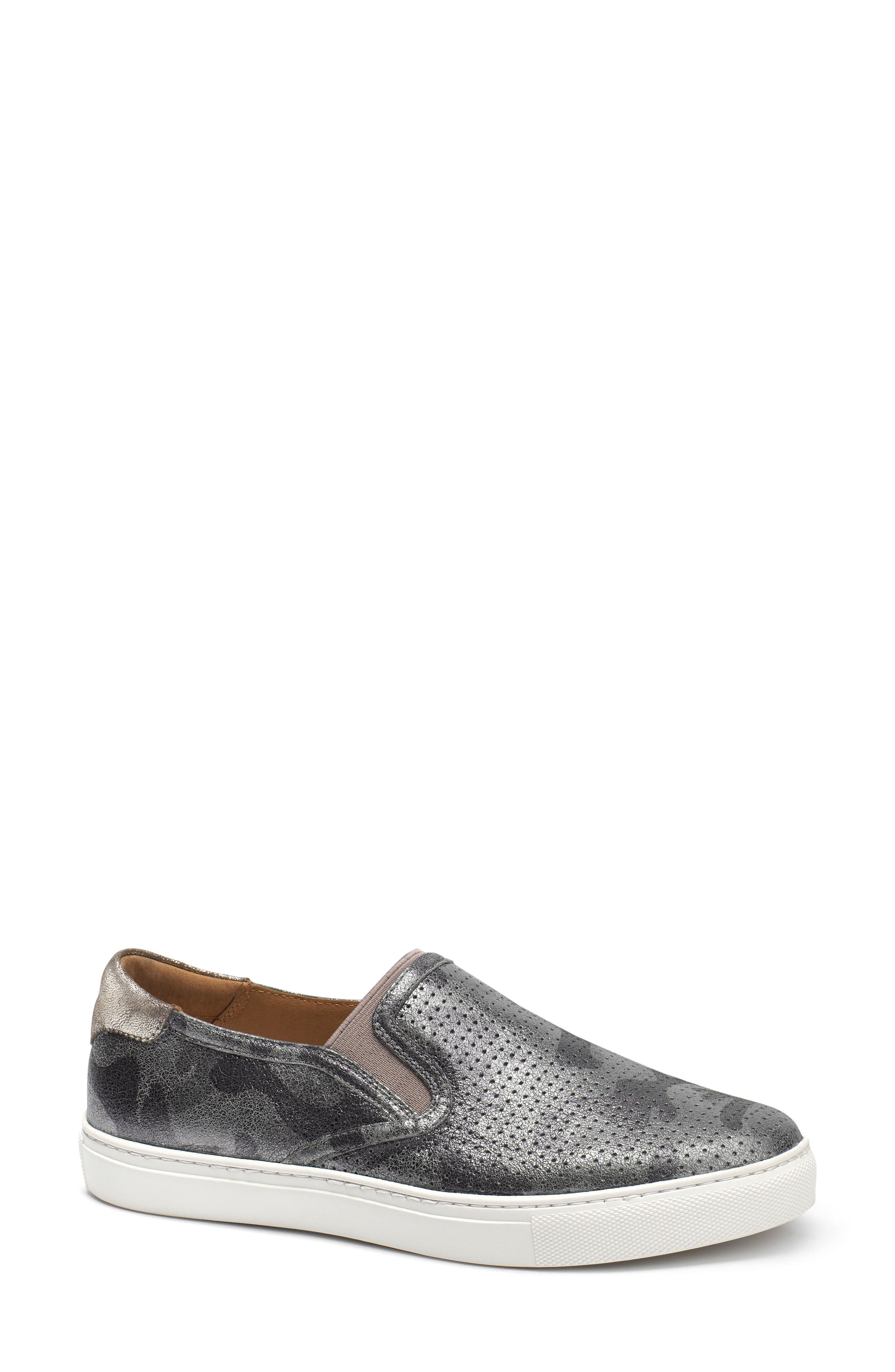 Lillian Water Resistant Slip-On Sneaker,                             Main thumbnail 1, color,                             PEWTER CAMO LEATHER