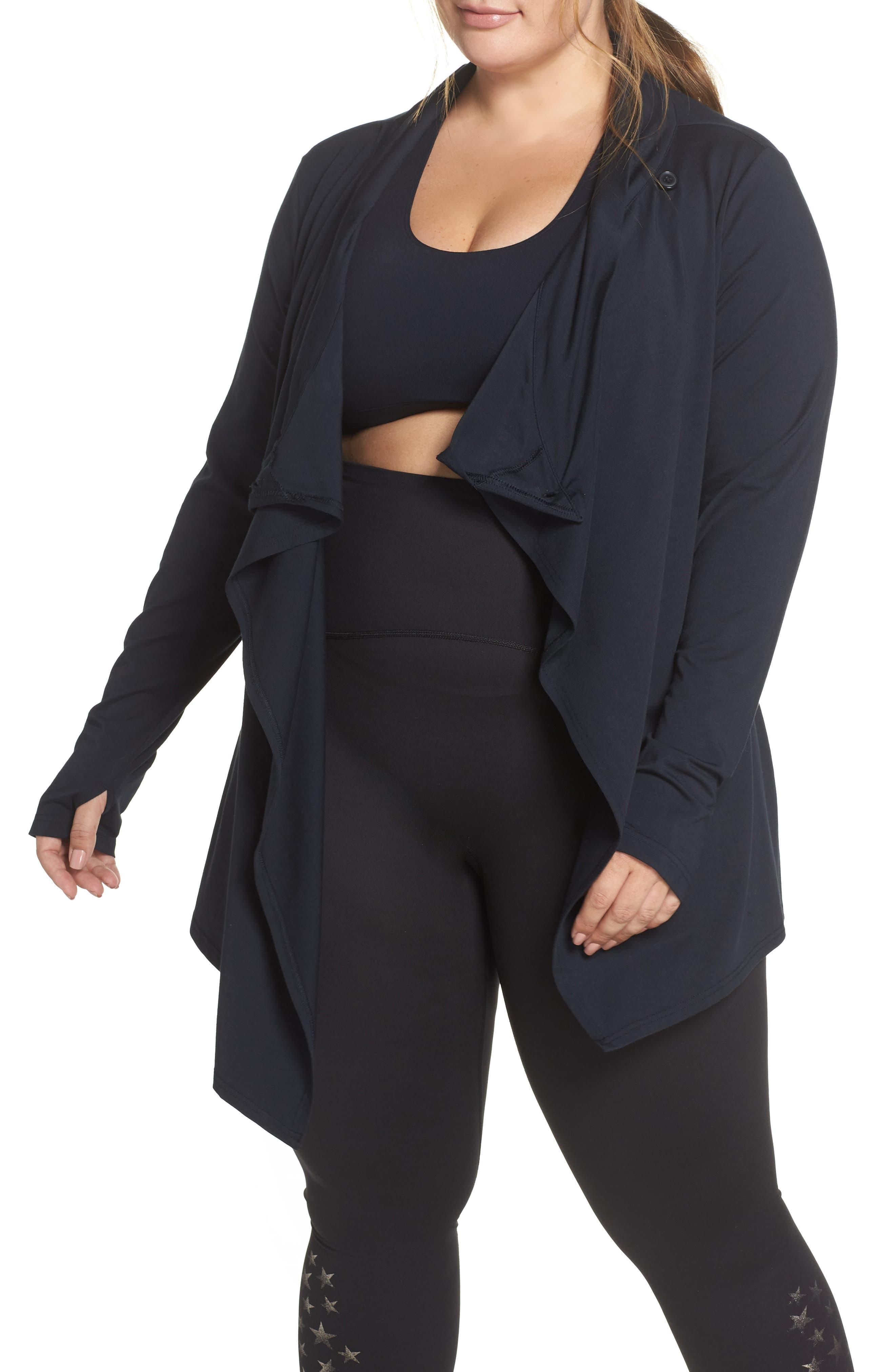 SHAPE ACTIVEWEAR Odyssey Wrap Jacket, Main, color, CAVIAR BLACK
