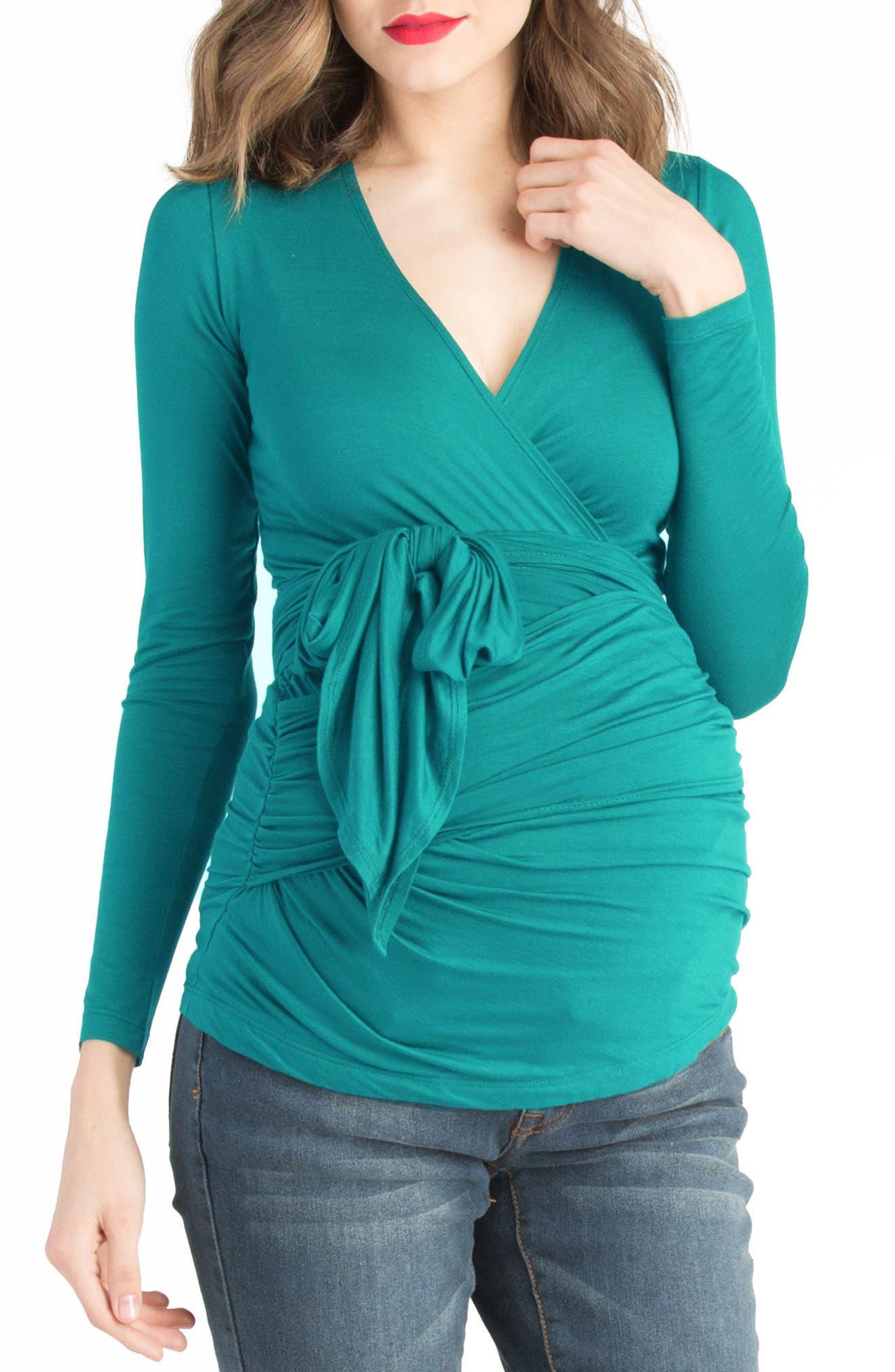 Faux Wrap Maternity/Nursing Top,                         Main,                         color, 400