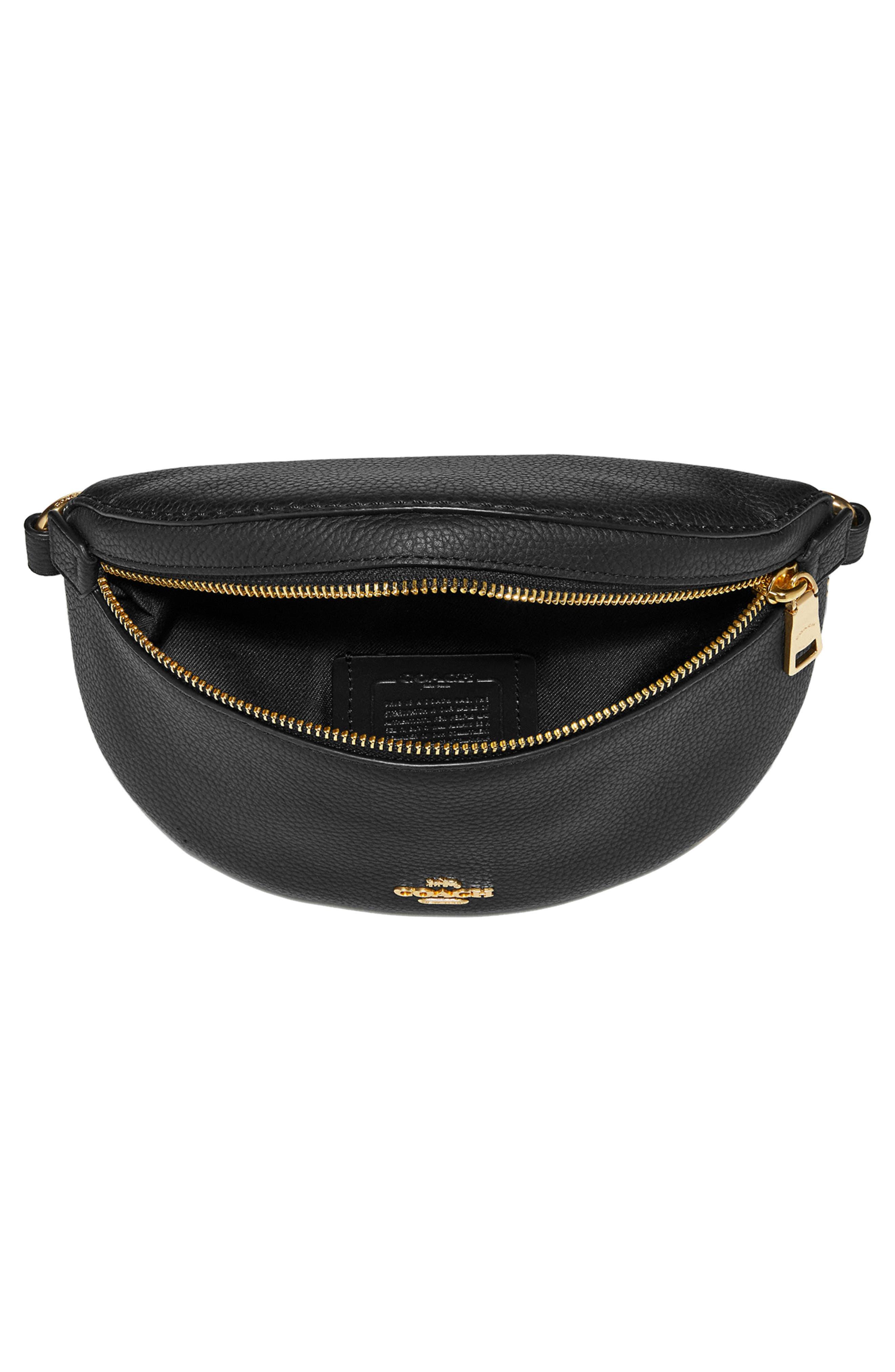 Pebbled Leather Belt Bag,                             Alternate thumbnail 3, color,                             BLACK