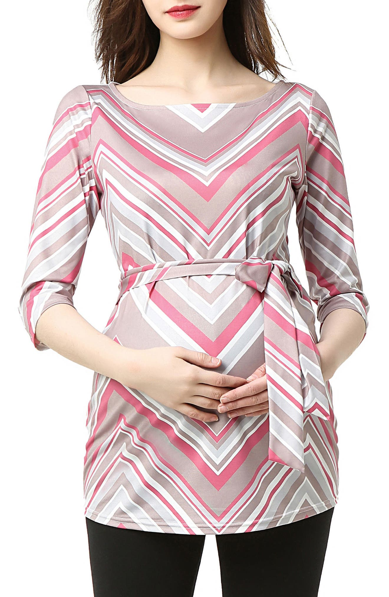Delia Chevron Maternity Top,                         Main,                         color, MULTICOLORED STRIPE
