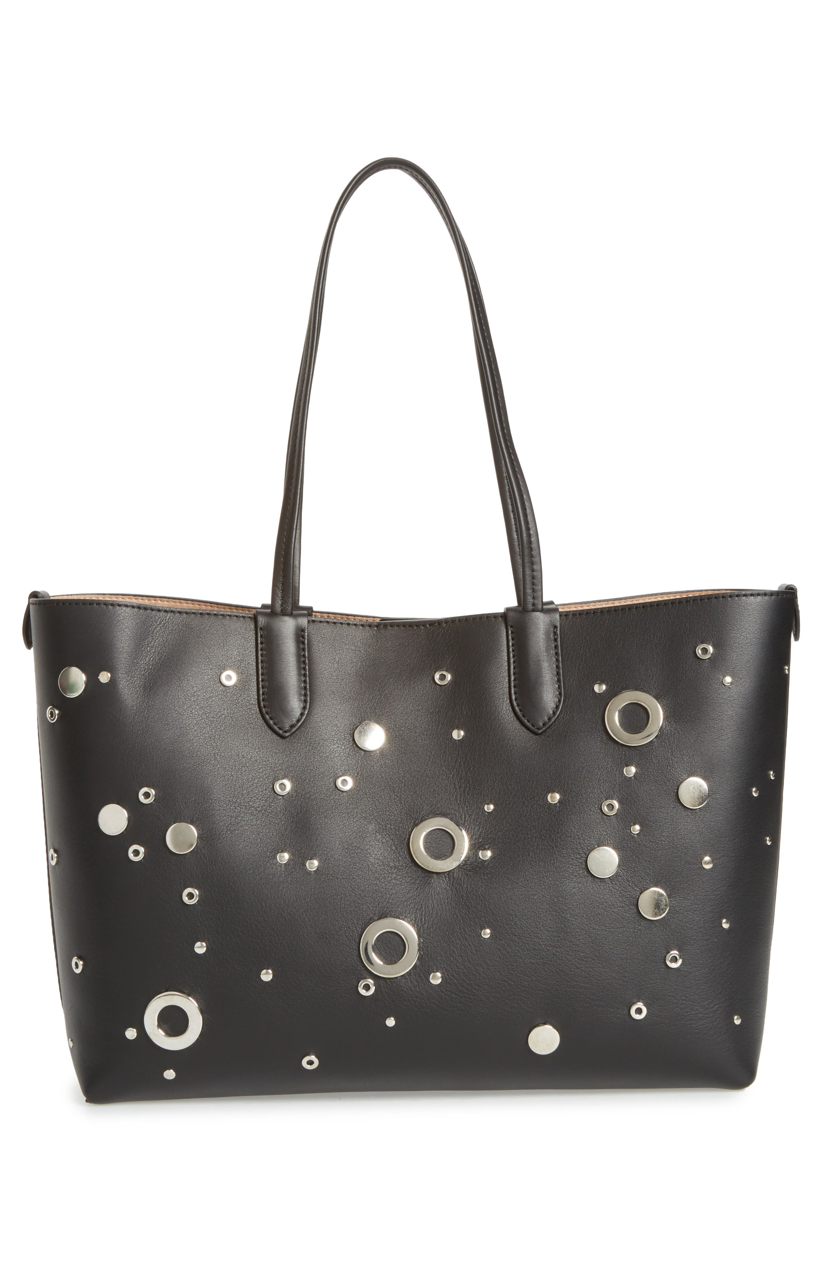 Studded Small Leather Shopper,                             Alternate thumbnail 3, color,                             001