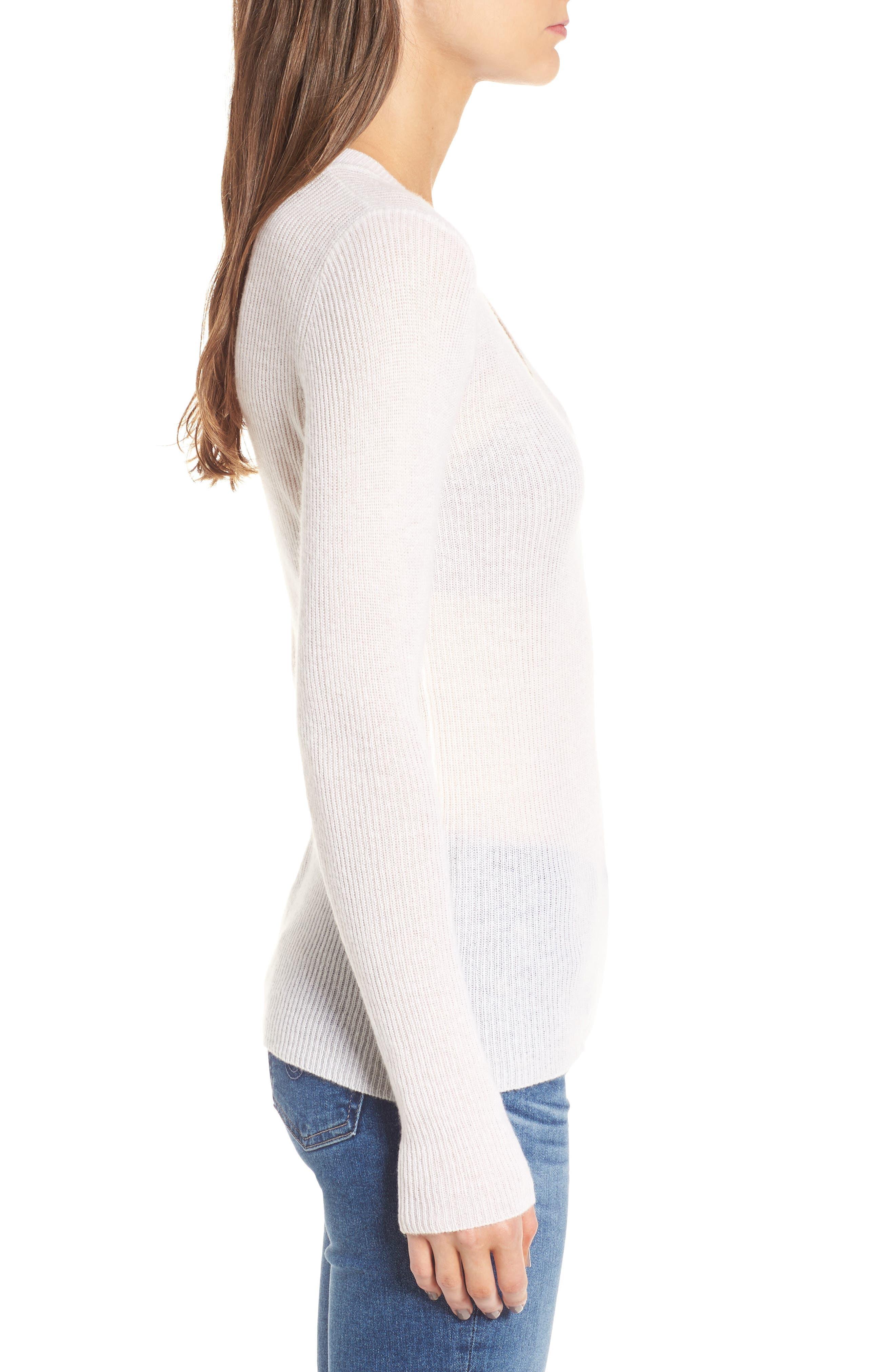 Cashmere V-Neck Sweater,                             Alternate thumbnail 3, color,                             100