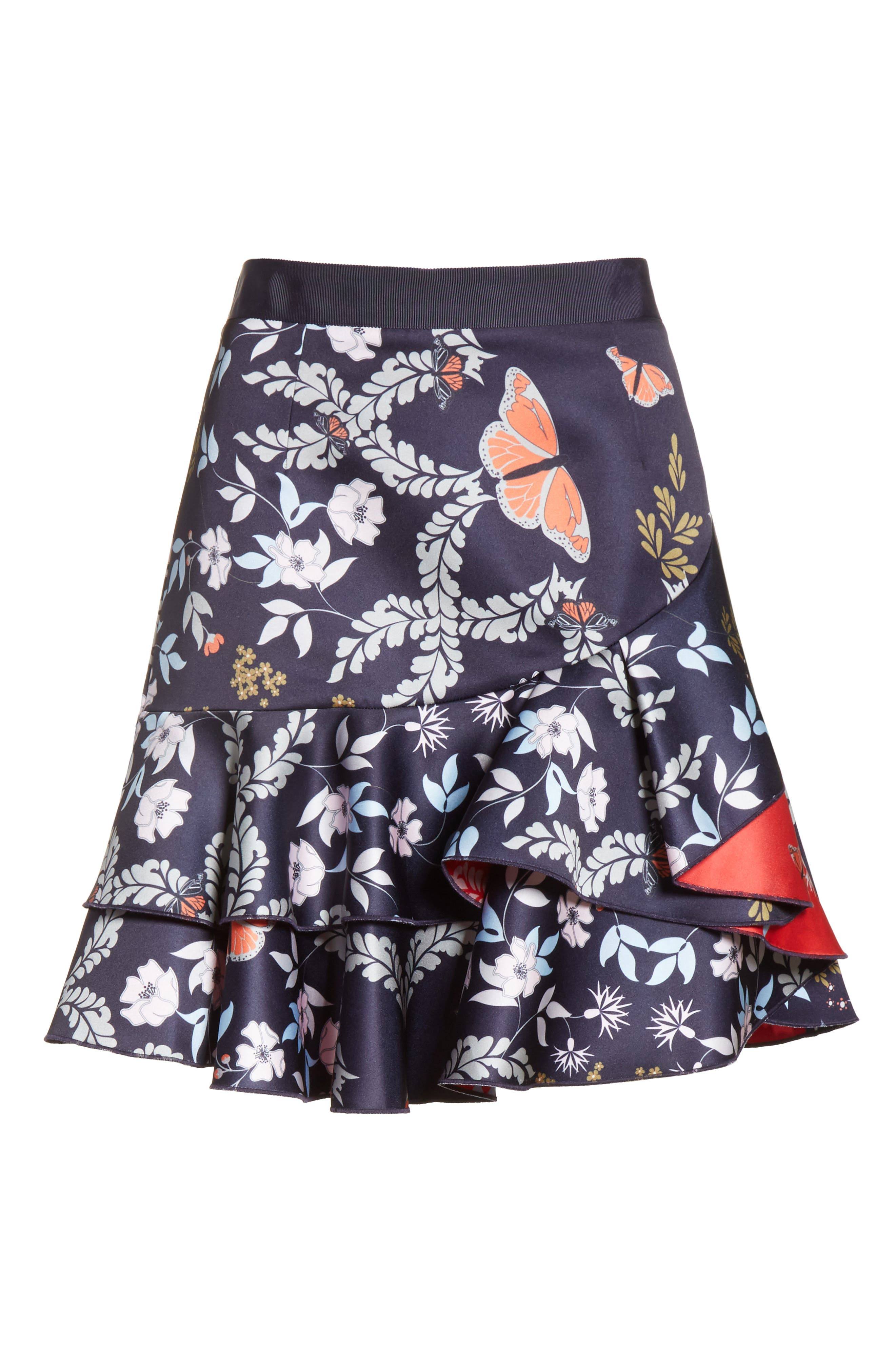 Janesa Kyoto Print Ruffle Skirt,                             Alternate thumbnail 6, color,                             424