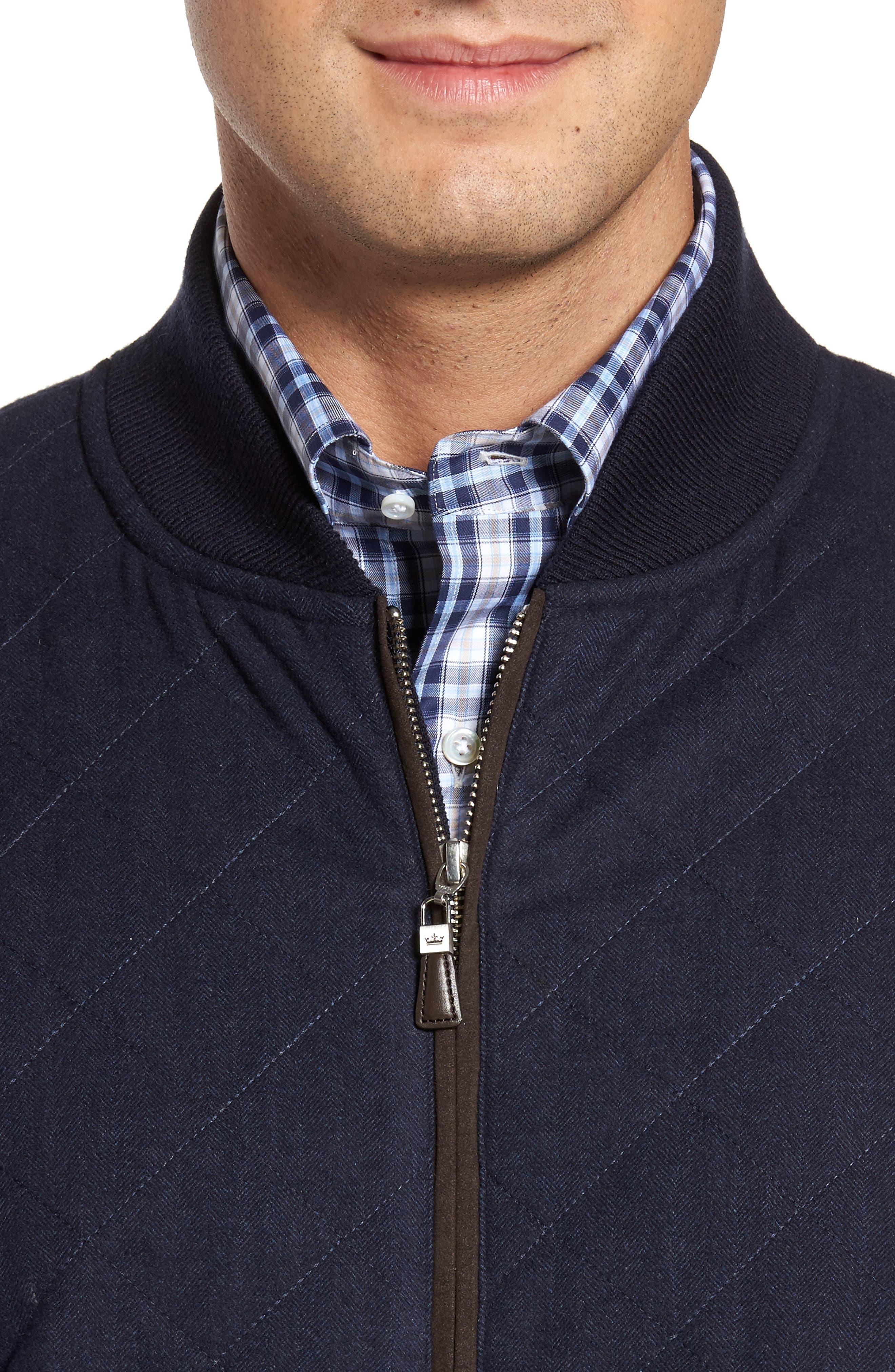 Crown Quilt Front Merino Wool Blend Cardigan,                             Alternate thumbnail 8, color,