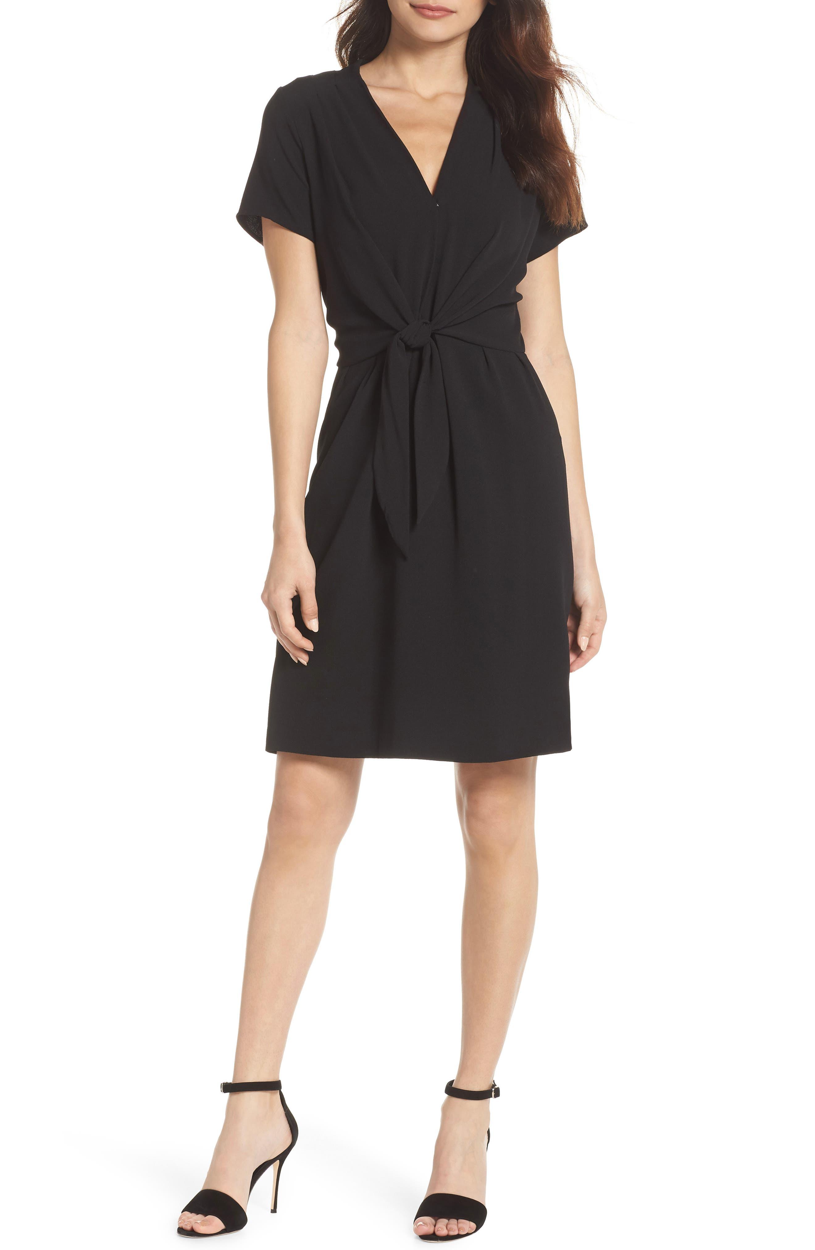 Tie Front Sheath Dress,                             Main thumbnail 1, color,                             001