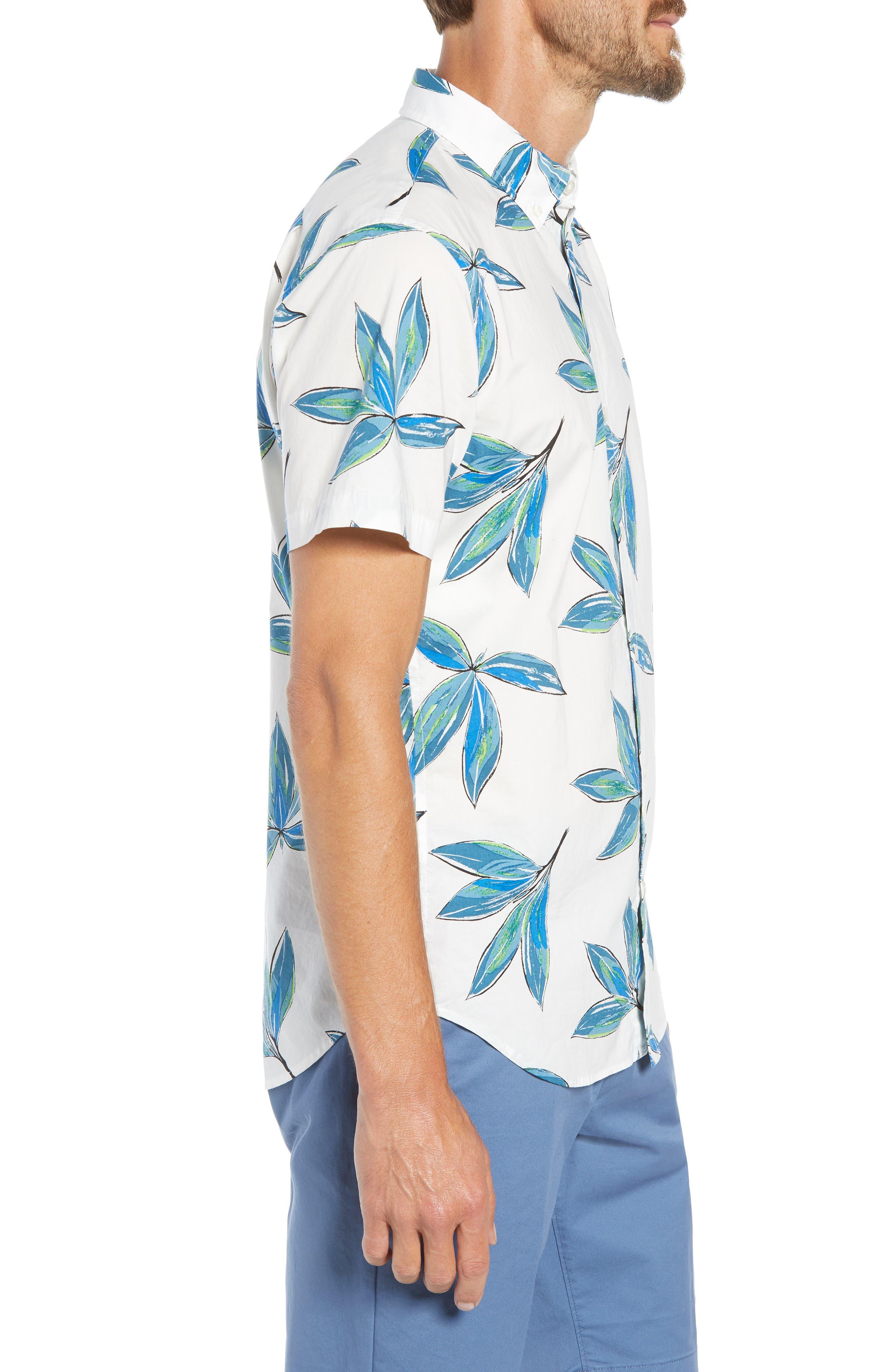 Riviera Slim Fit Leaf Print Sport Shirt,                             Alternate thumbnail 4, color,                             LEAF BUNCH