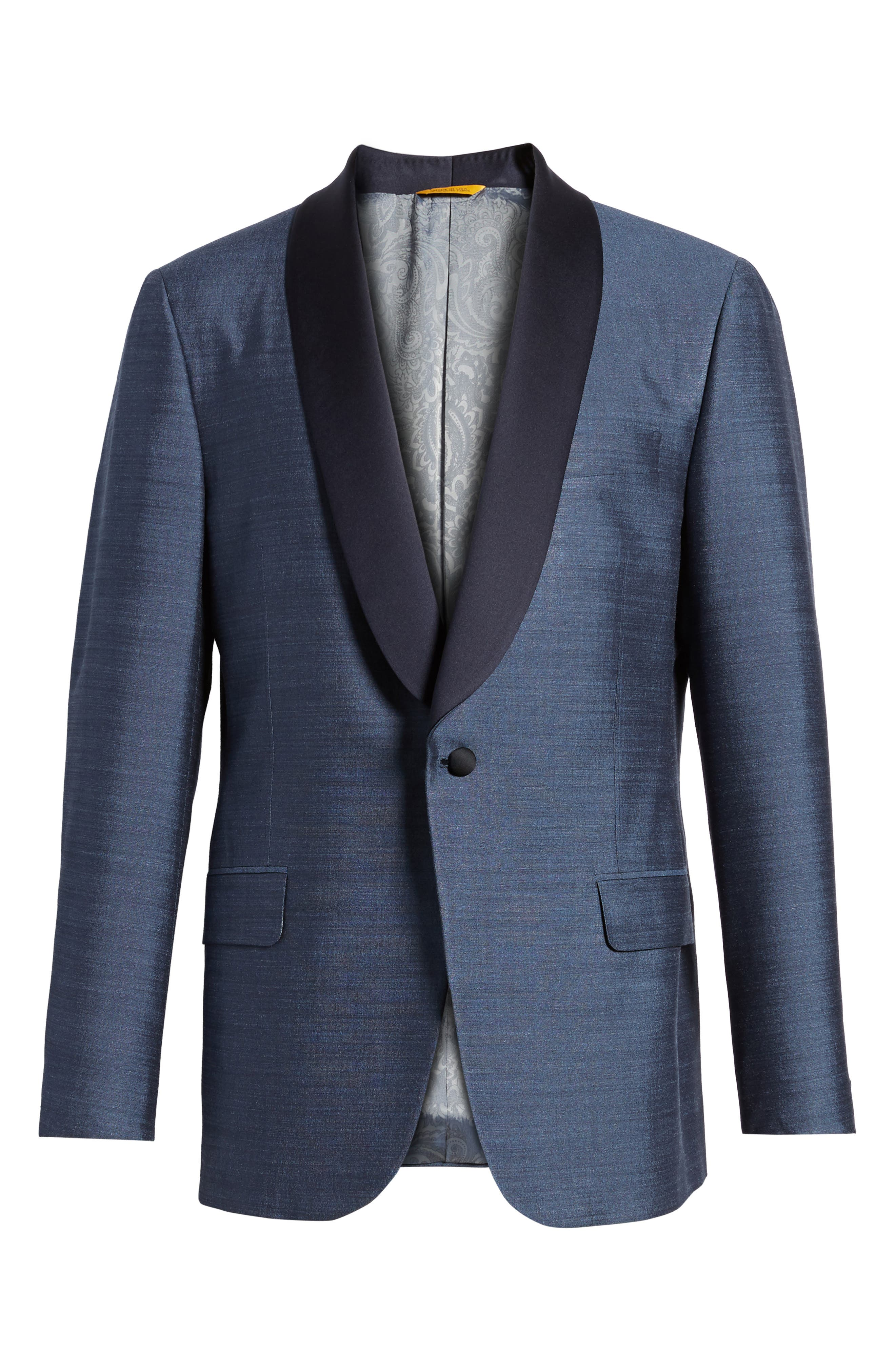 Classic B Fit Silk Dinner Jacket,                             Alternate thumbnail 5, color,                             SLATE BLUE SOLID