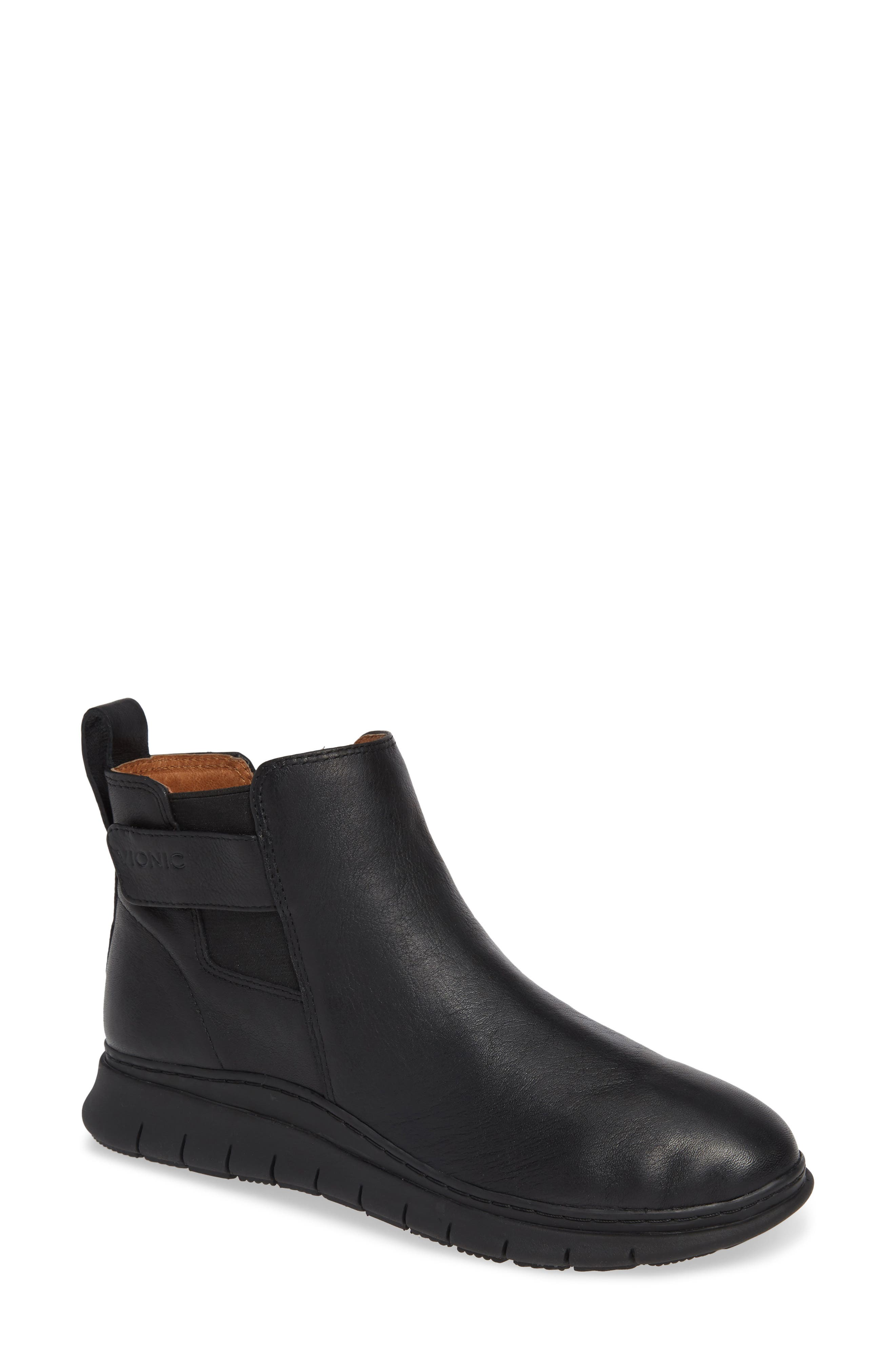 Kaufman Sneaker,                         Main,                         color, BLACK LEATHER