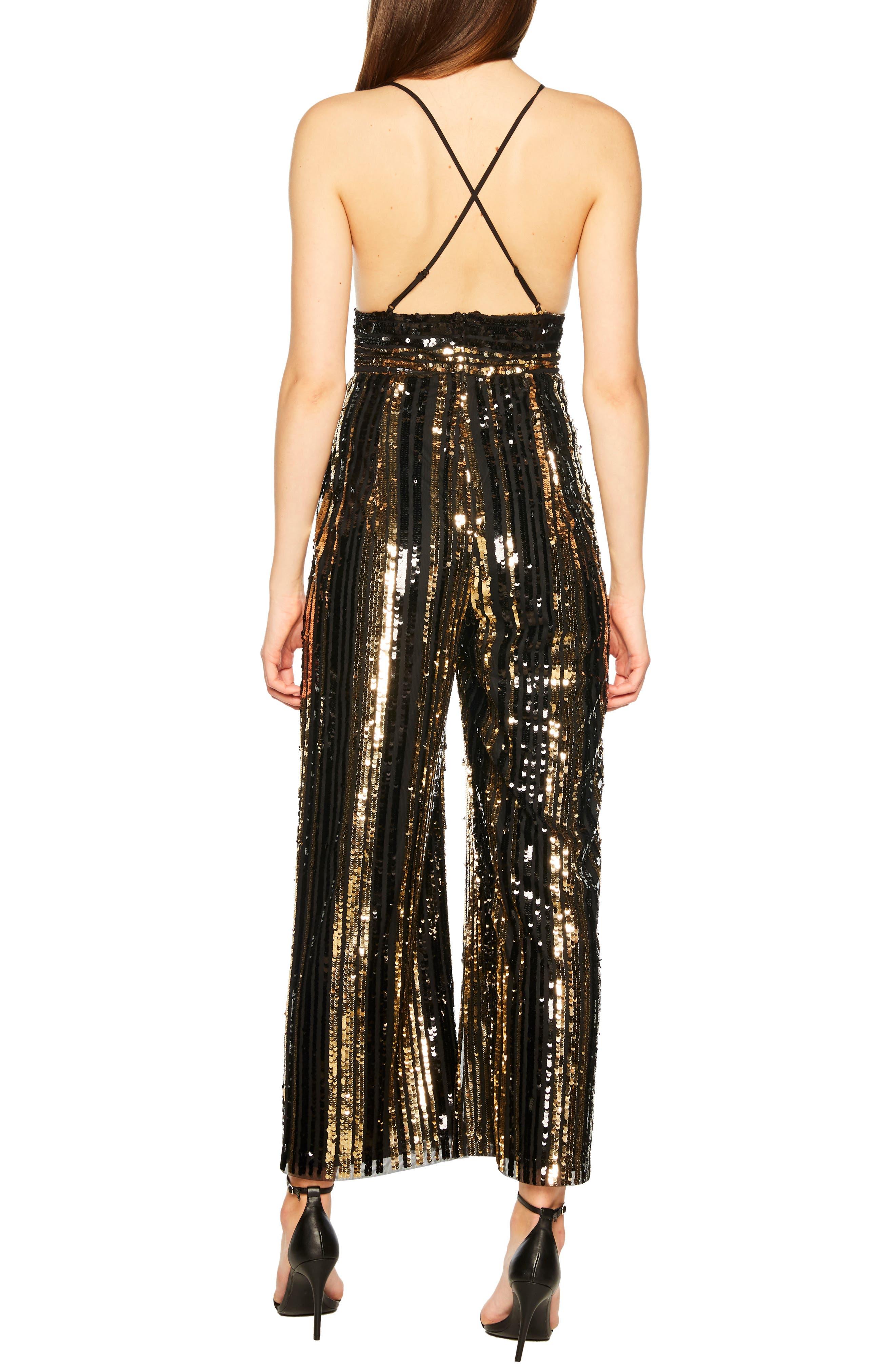 Goldie Sequin Stripe Jumpsuit,                             Alternate thumbnail 2, color,                             GOLD STRIPE