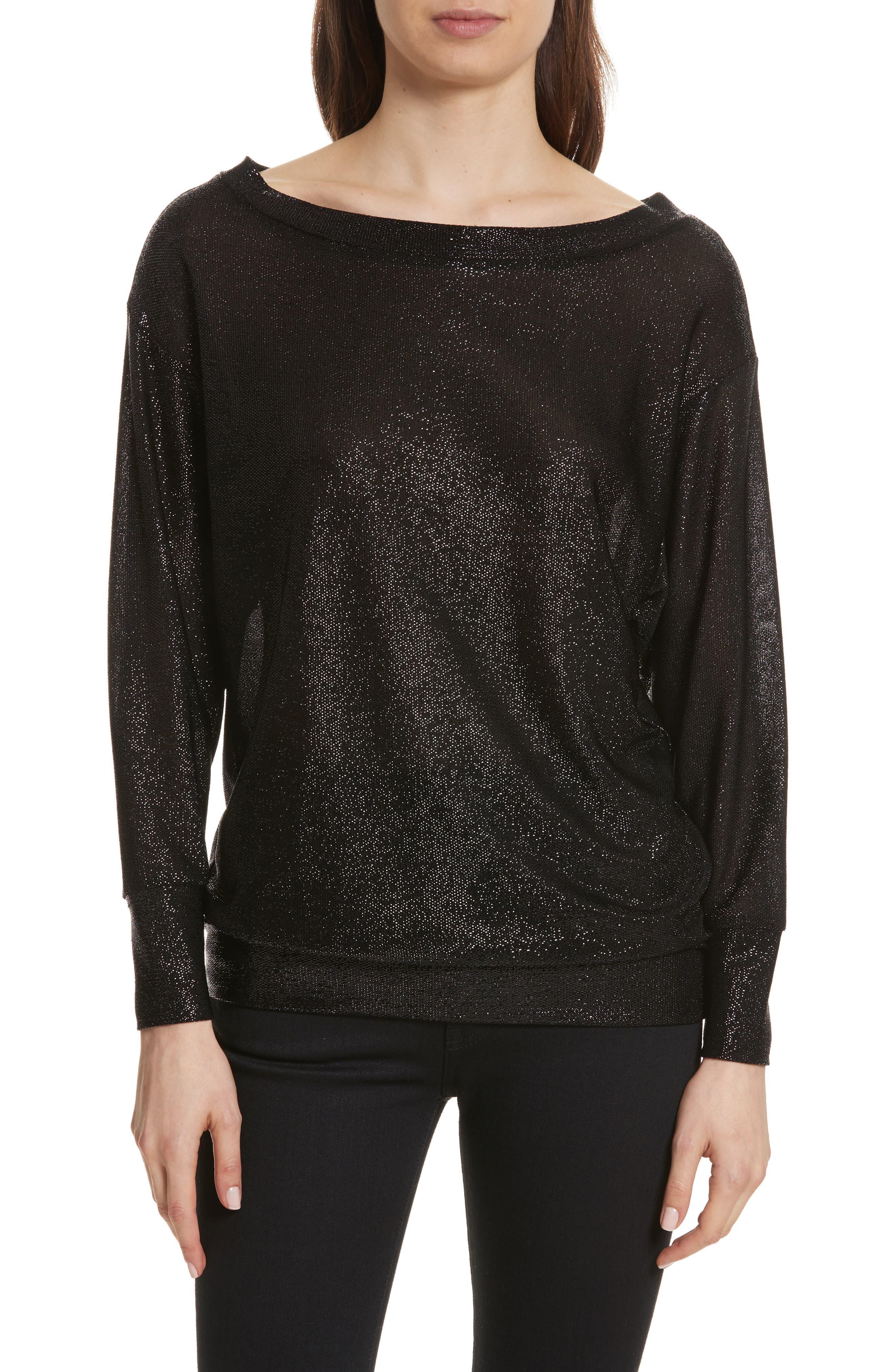 Bateau Neck Shimmer Sweatshirt,                             Main thumbnail 1, color,