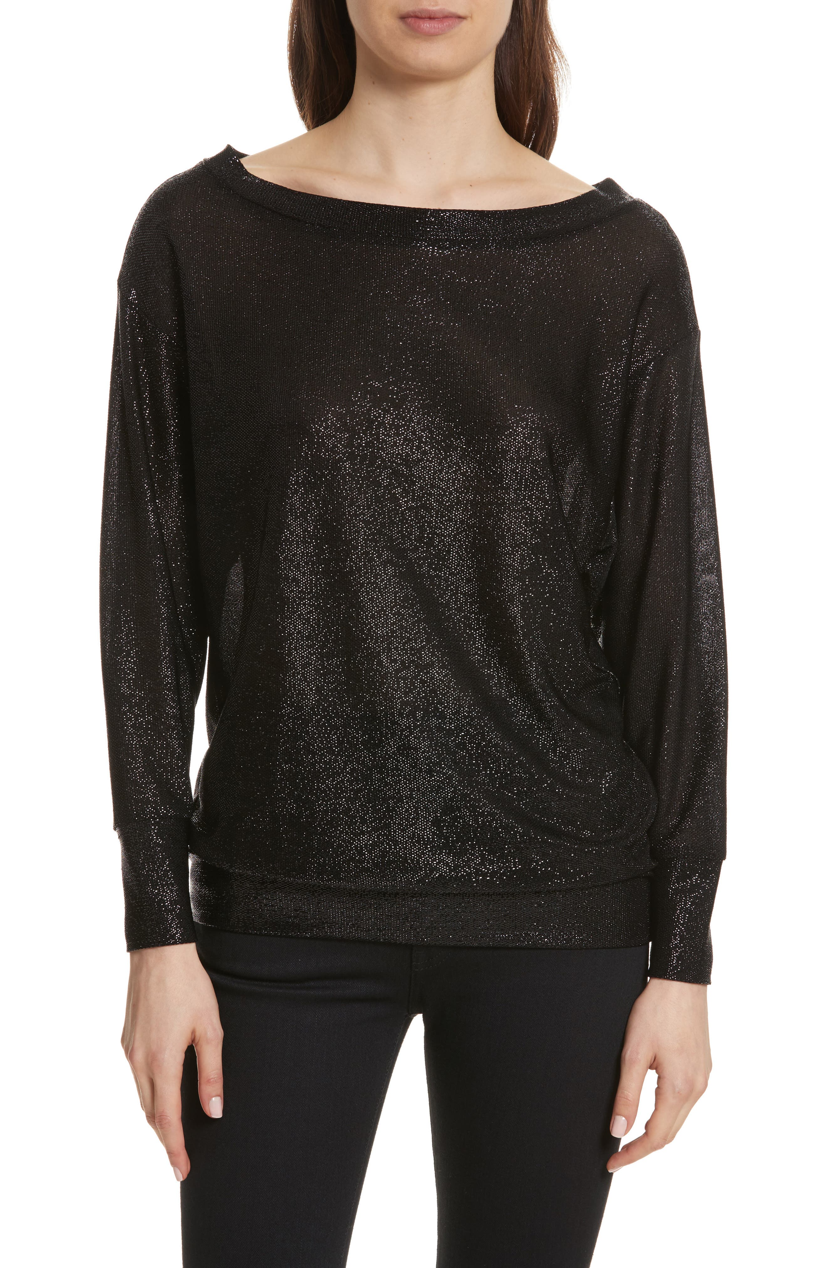 Bateau Neck Shimmer Sweatshirt,                         Main,                         color,