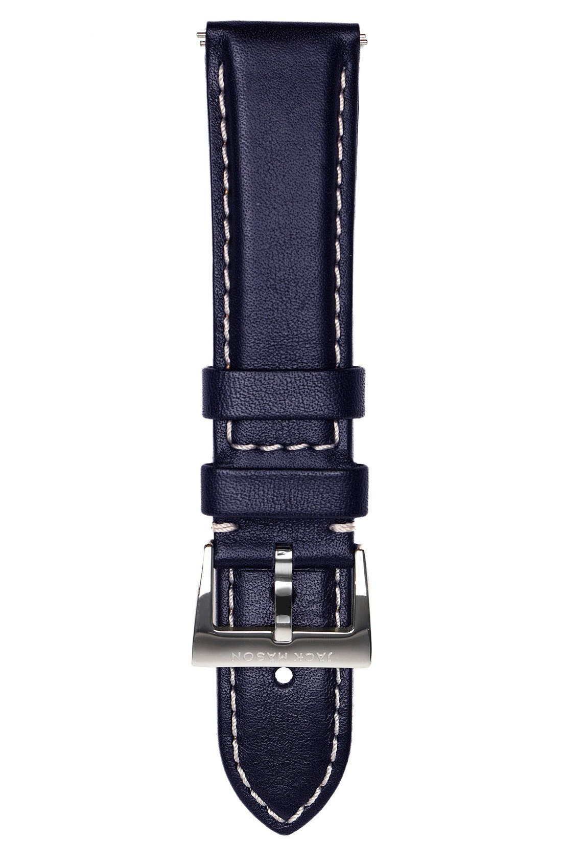Leather Watch Strap, 22mm,                         Main,                         color, 400