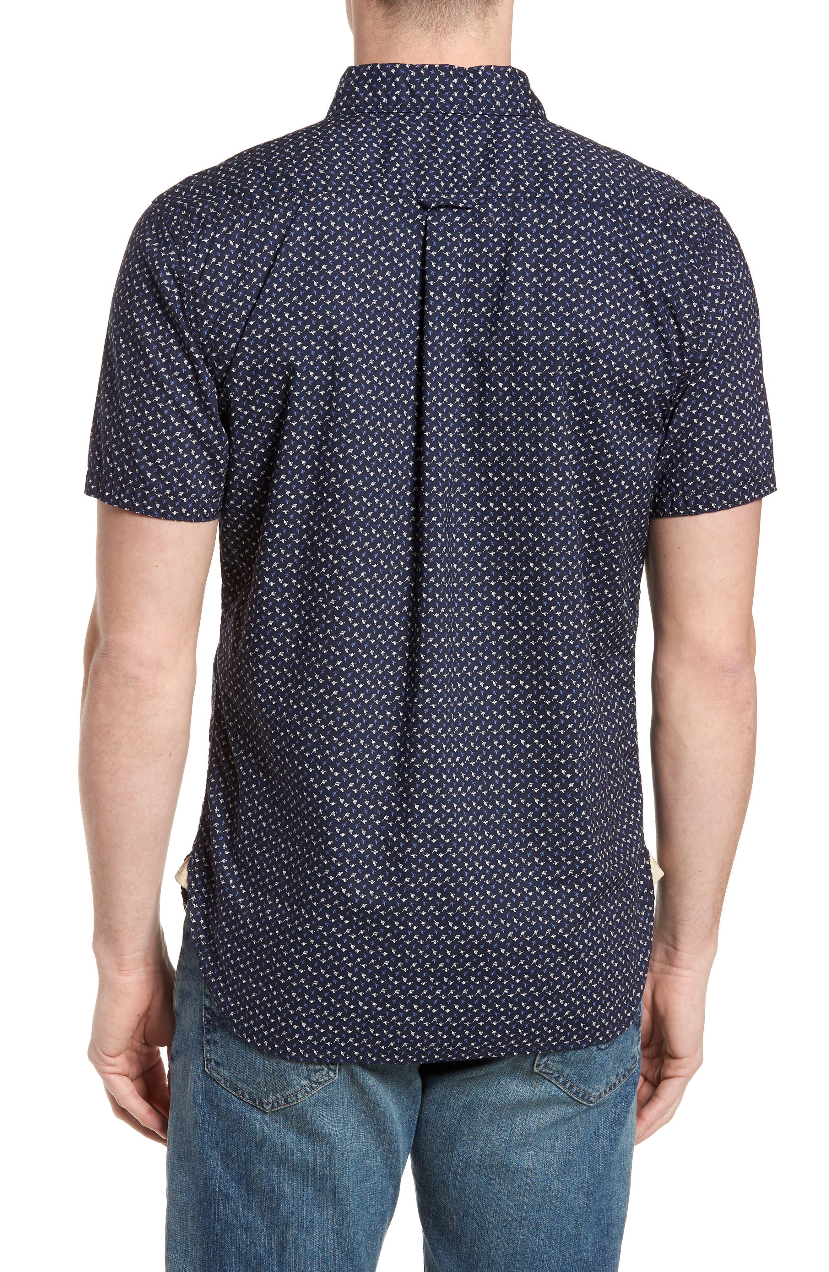 Truman Slim Fit Short Sleeve Sport Shirt,                             Alternate thumbnail 2, color,                             NAVY
