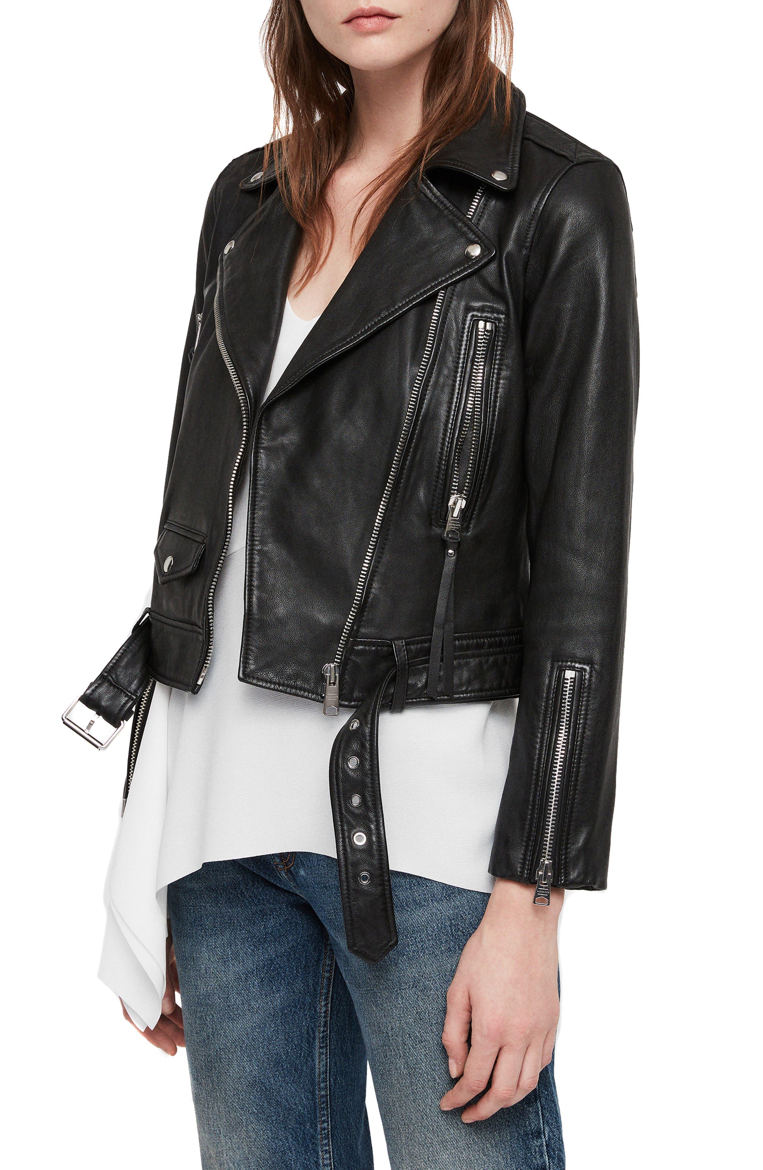 Juno Leather Biker Jacket,                             Alternate thumbnail 3, color,                             BLACK