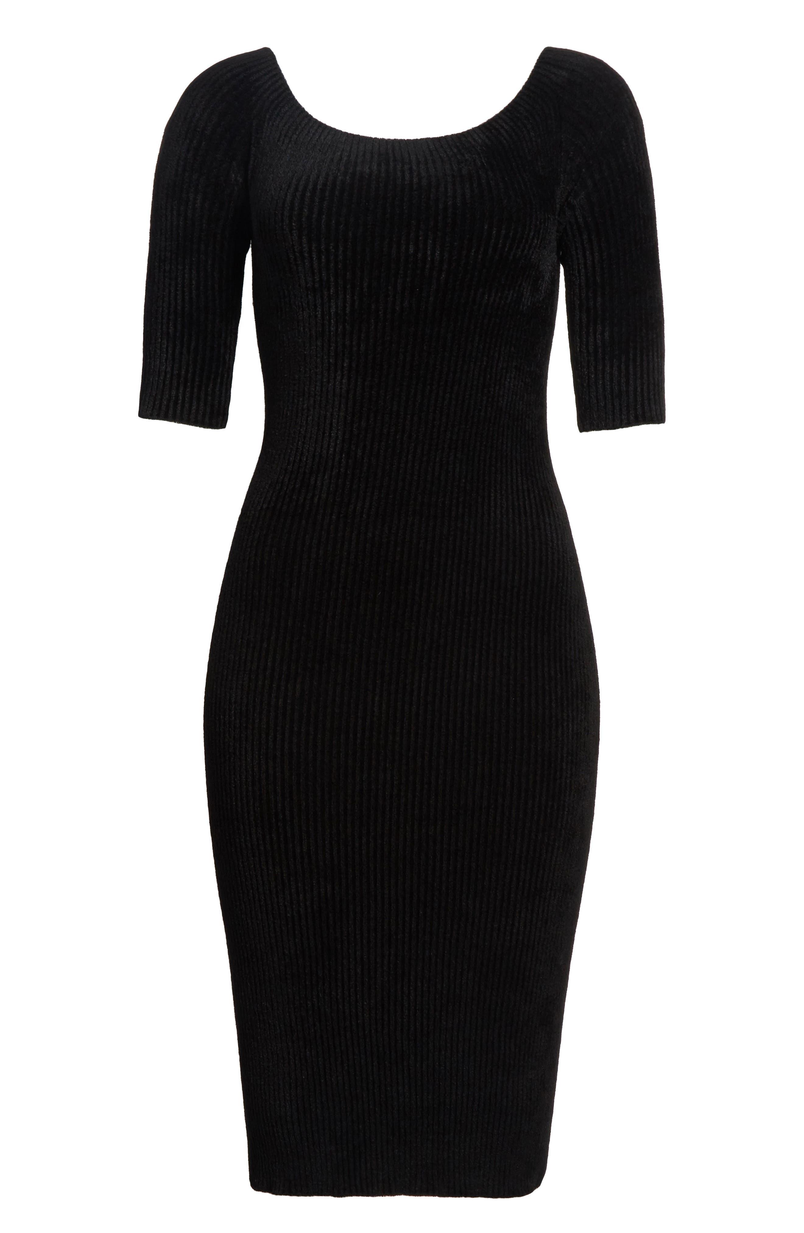 Ribbed Velveteen Body-Con Dress,                             Alternate thumbnail 6, color,                             001
