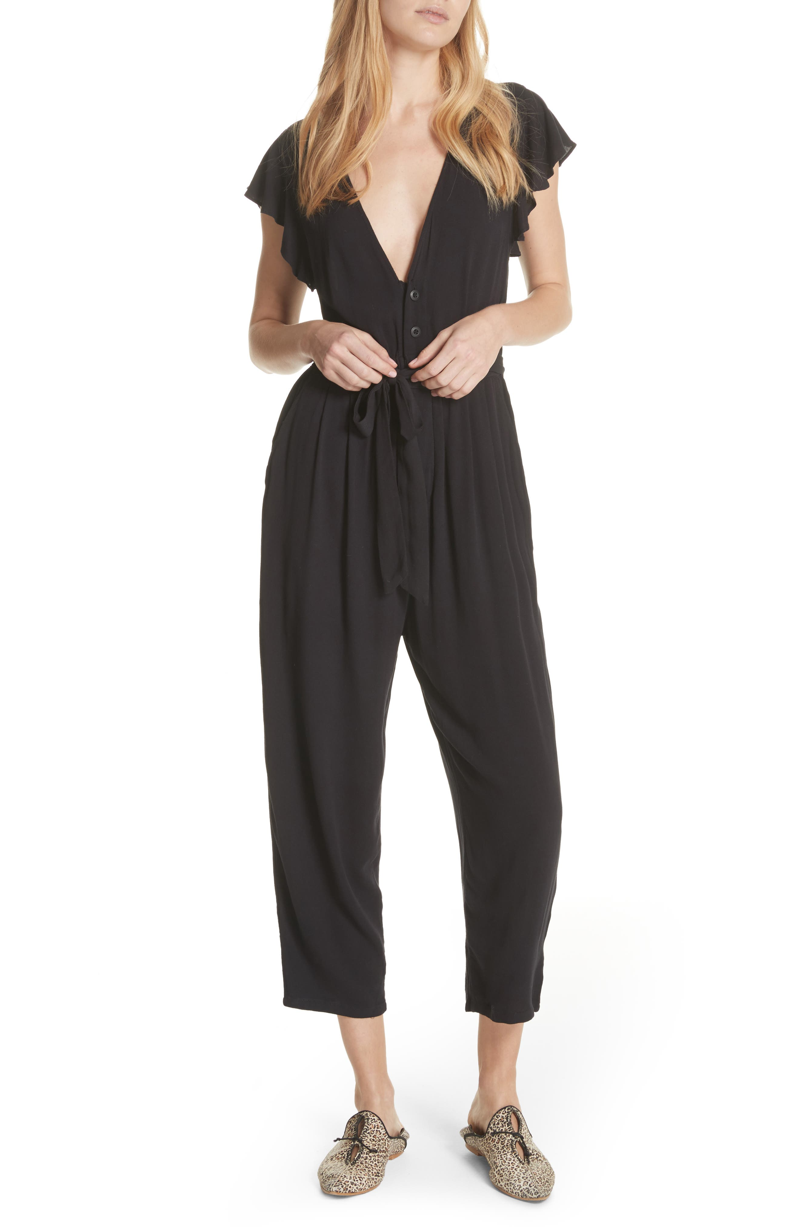 FREE PEOPLE,                             Ruffle Your Feather Jumpsuit,                             Main thumbnail 1, color,                             001