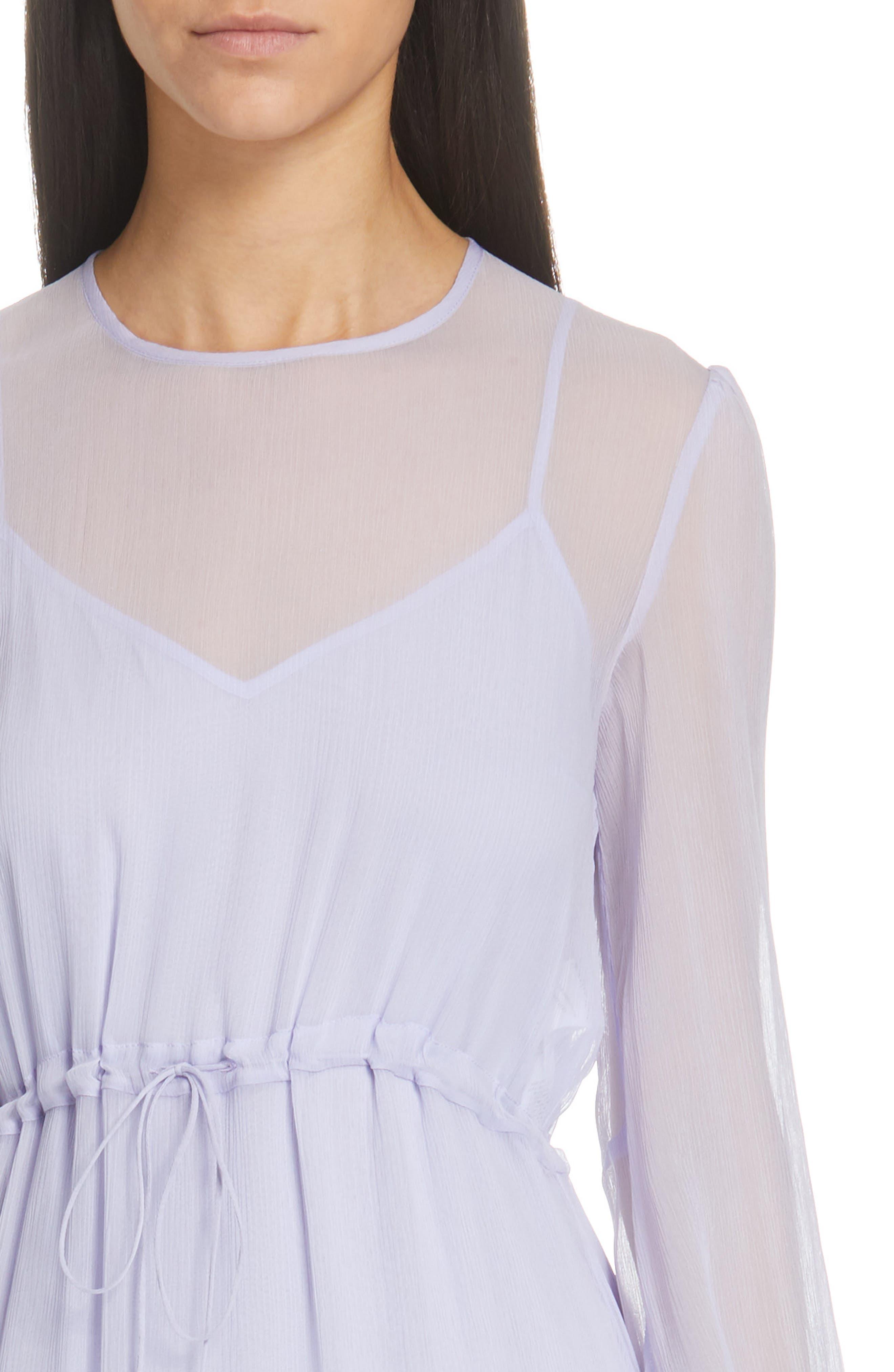 Asymmetrical Silk Midi Dress,                             Alternate thumbnail 4, color,                             SOFTY LILAC