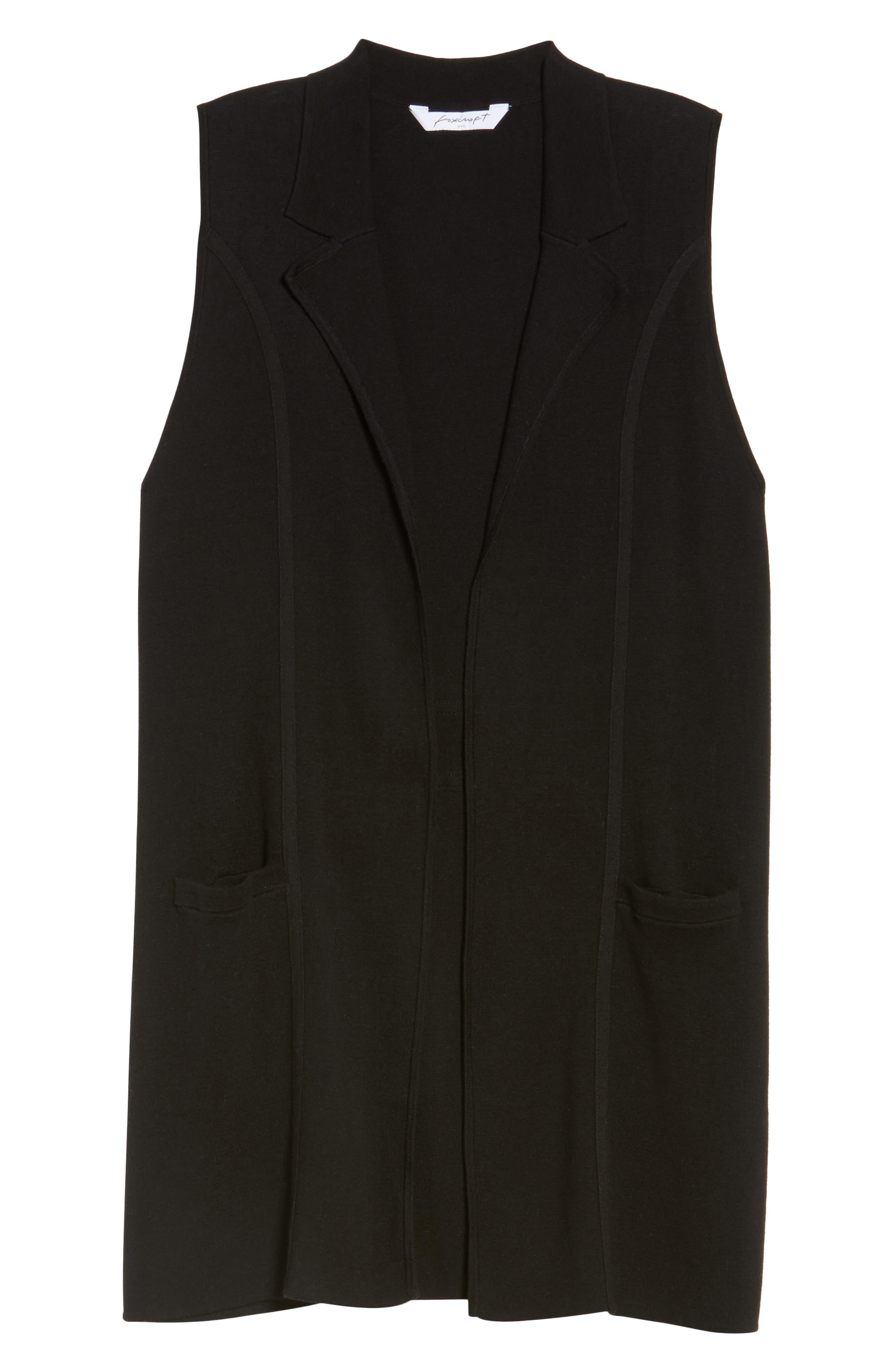 Jodi Longline Sweater Vest,                             Alternate thumbnail 6, color,                             BLACK
