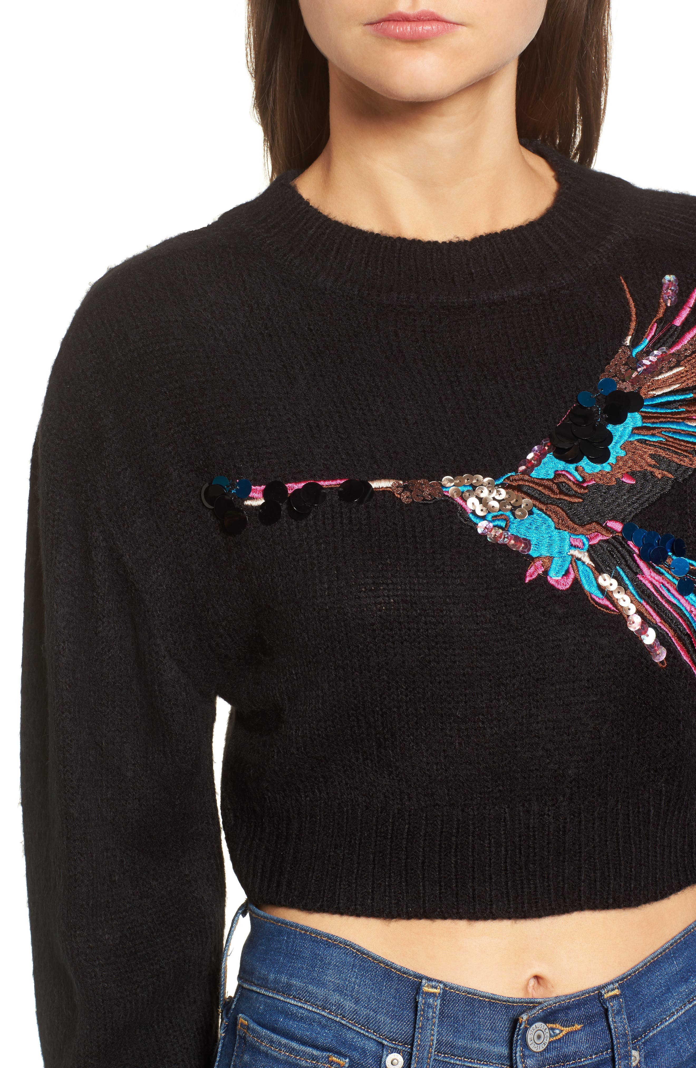 Embroidered Bird Sweater,                             Alternate thumbnail 4, color,                             001
