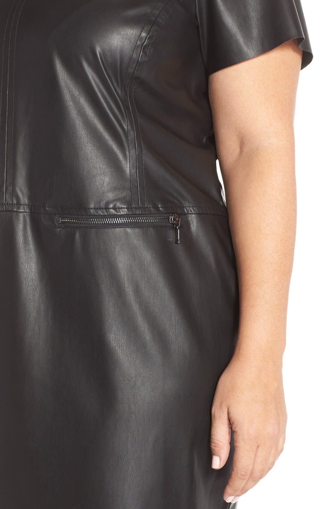 JUNAROSE,                             'Kanya' Faux Leather Shift Dress,                             Alternate thumbnail 2, color,                             001