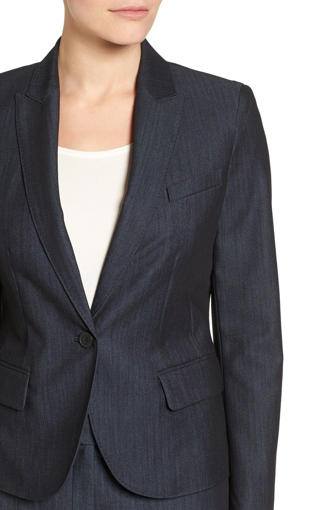Twill One-Button Jacket,                             Alternate thumbnail 5, color,                             INDIGO TWILL
