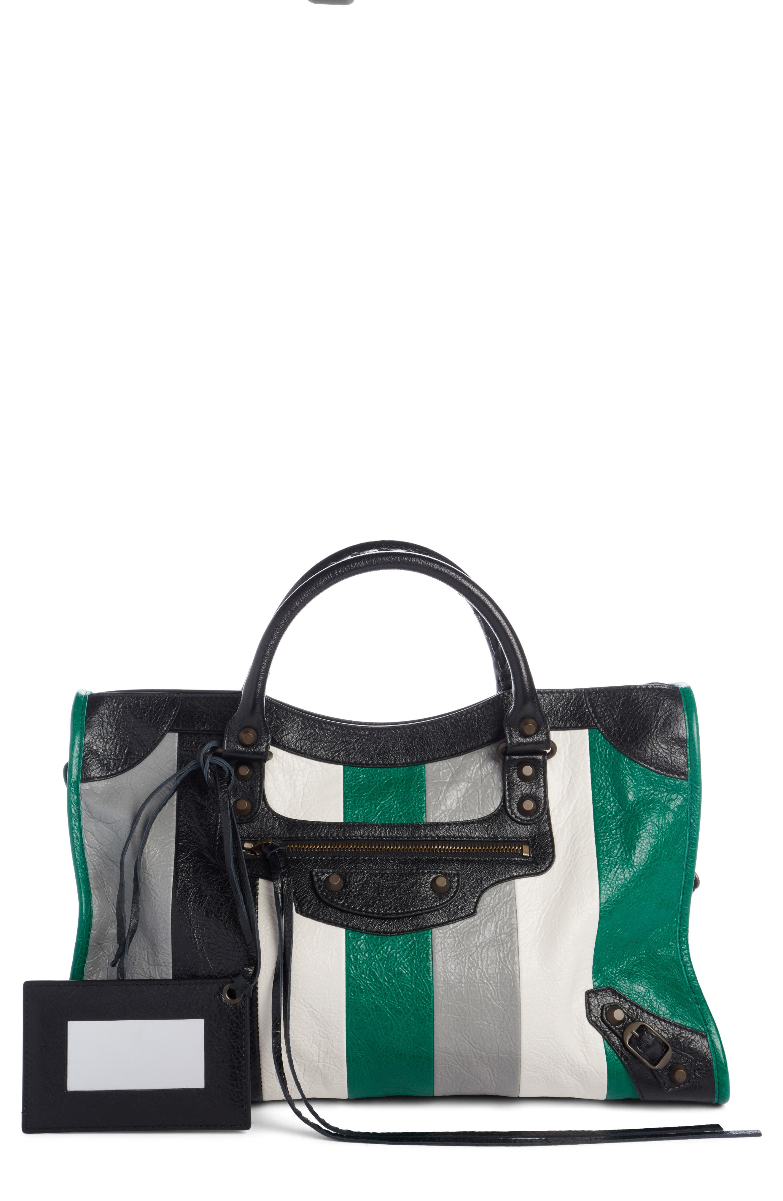 Classic City Stripe Leather Tote,                             Main thumbnail 1, color,                             306