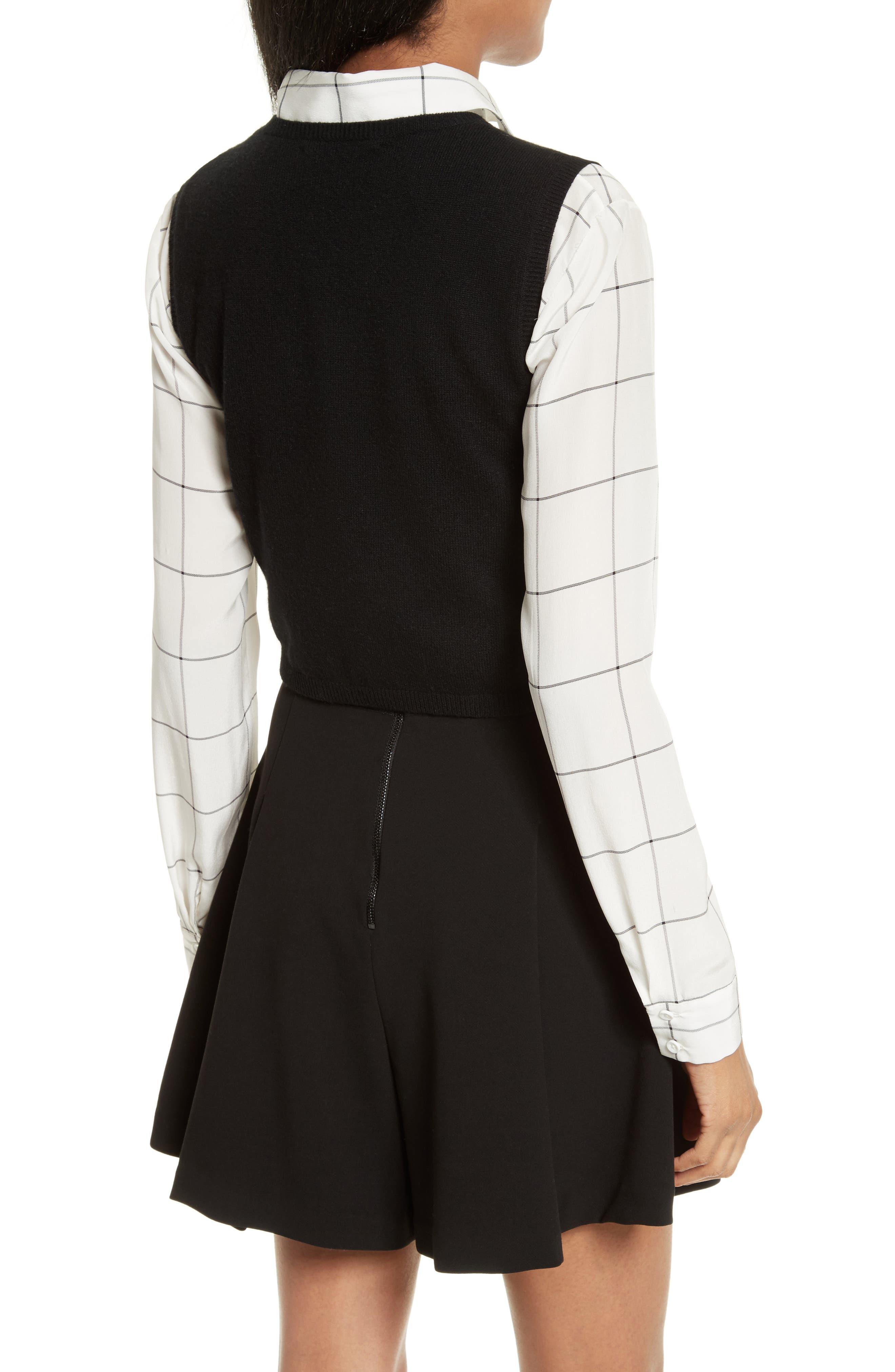 Lucinda Crop Sweater Vest & Shirt,                             Alternate thumbnail 2, color,                             007