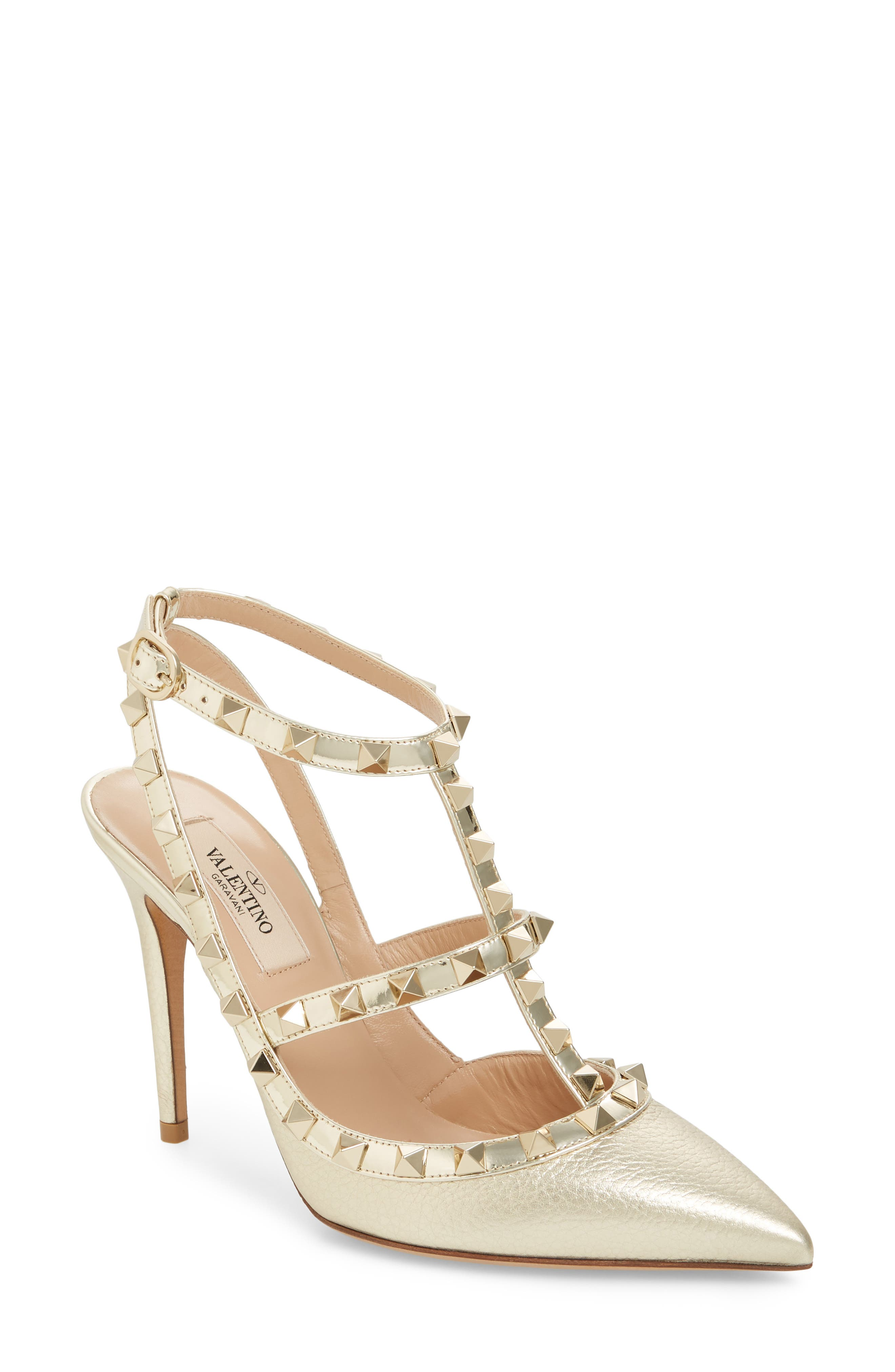 Rockstud T-Strap Pump,                             Main thumbnail 1, color,                             PLATINO