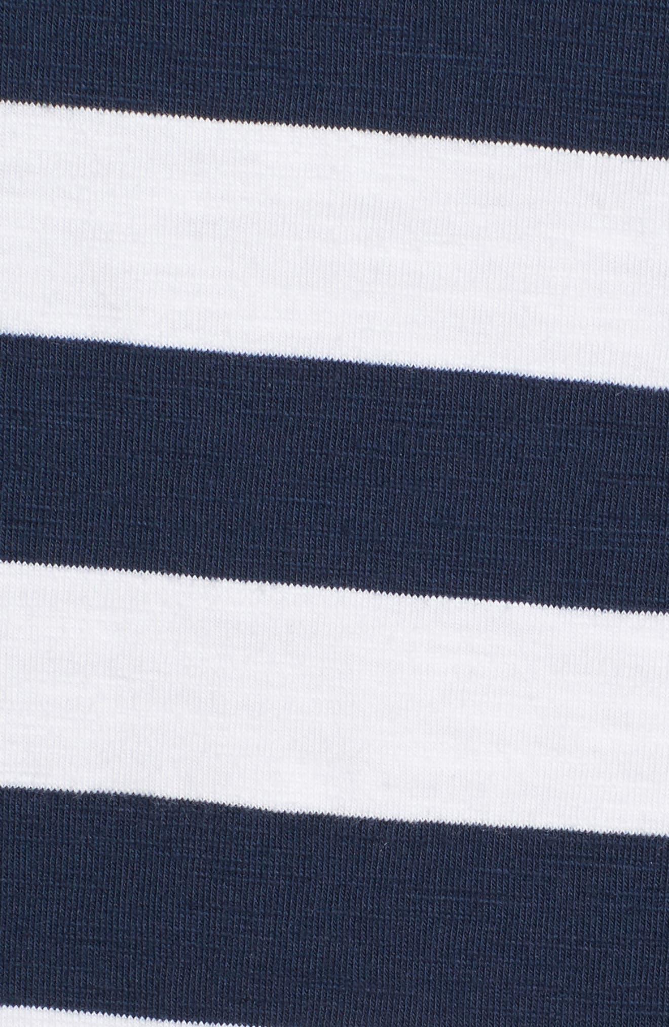 Stripe Right Lace-Up Stretch Cotton Dress,                             Alternate thumbnail 5, color,                             OCEAN DEEP