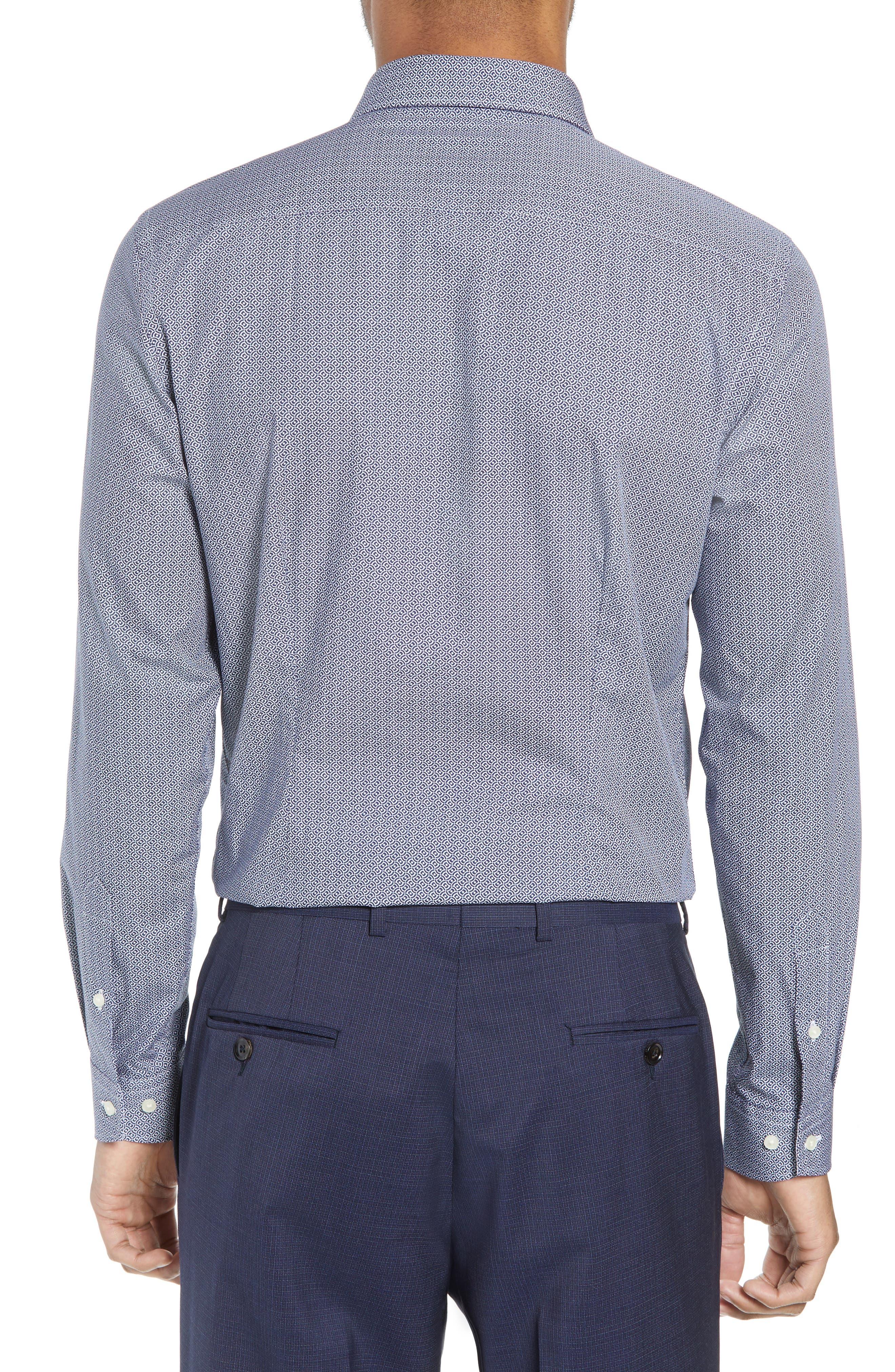 Footz Slim Fit Geometric Dress Shirt,                             Alternate thumbnail 3, color,                             NAVY